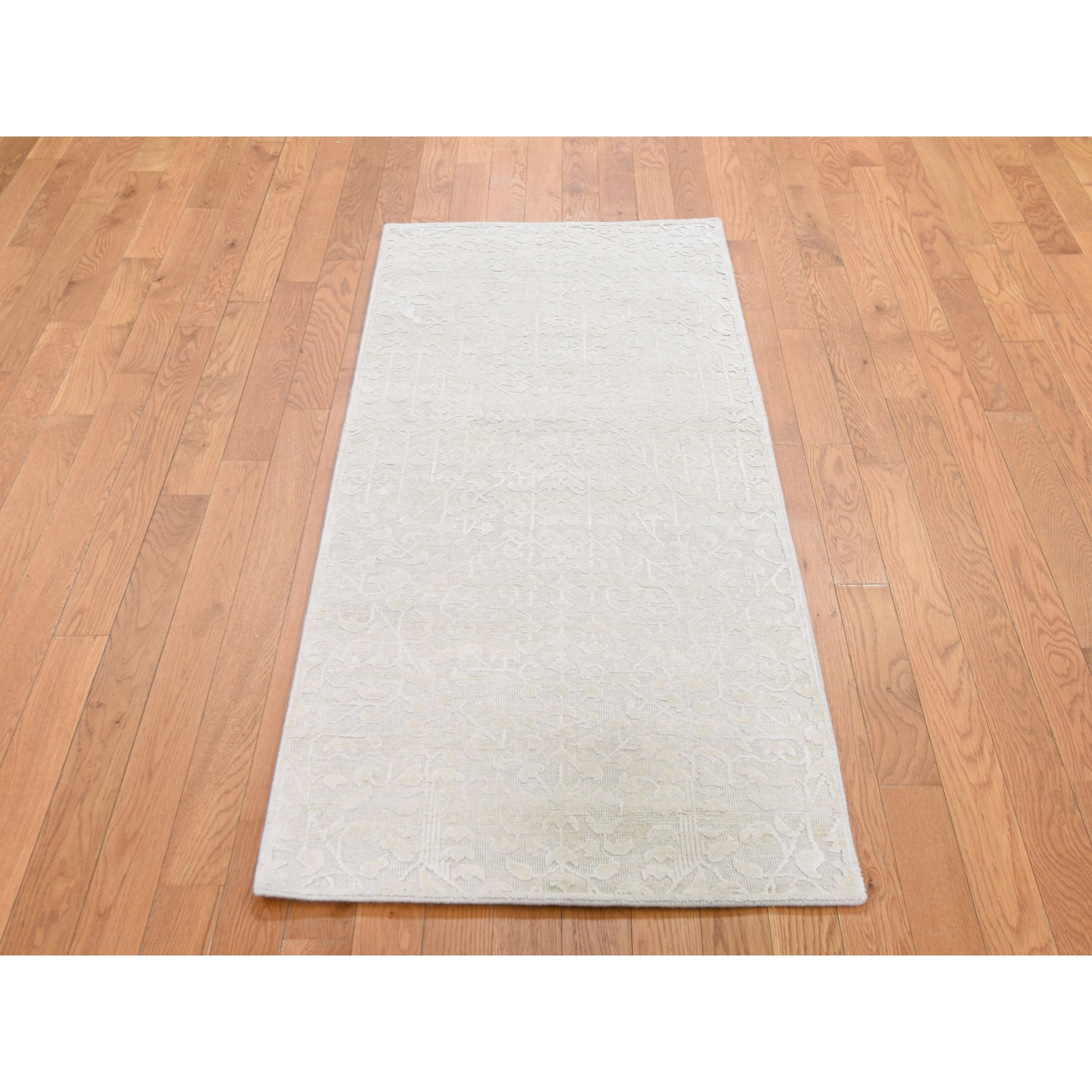 "2'5""x6' Hand knotted Tone on Tone Pure Silk with Textured Wool Runner Oriental Rug"