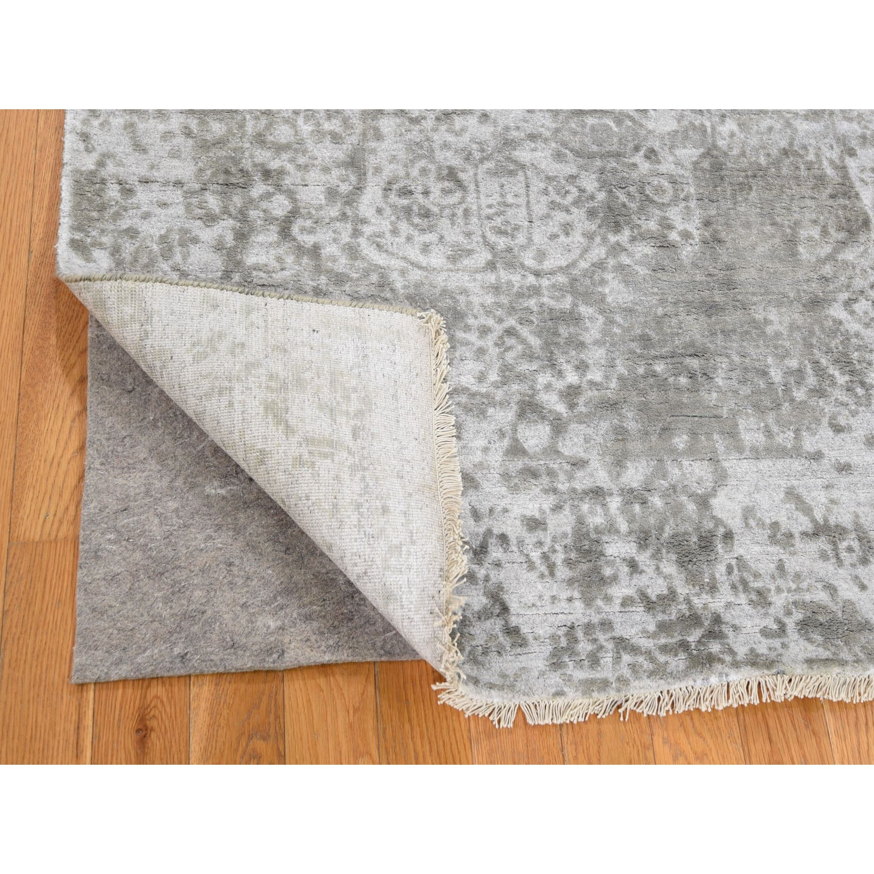 4'x6' Silver-Dark Gray Erased Persian Design Wool and Pure Silk Hand Knotted Oriental Rug