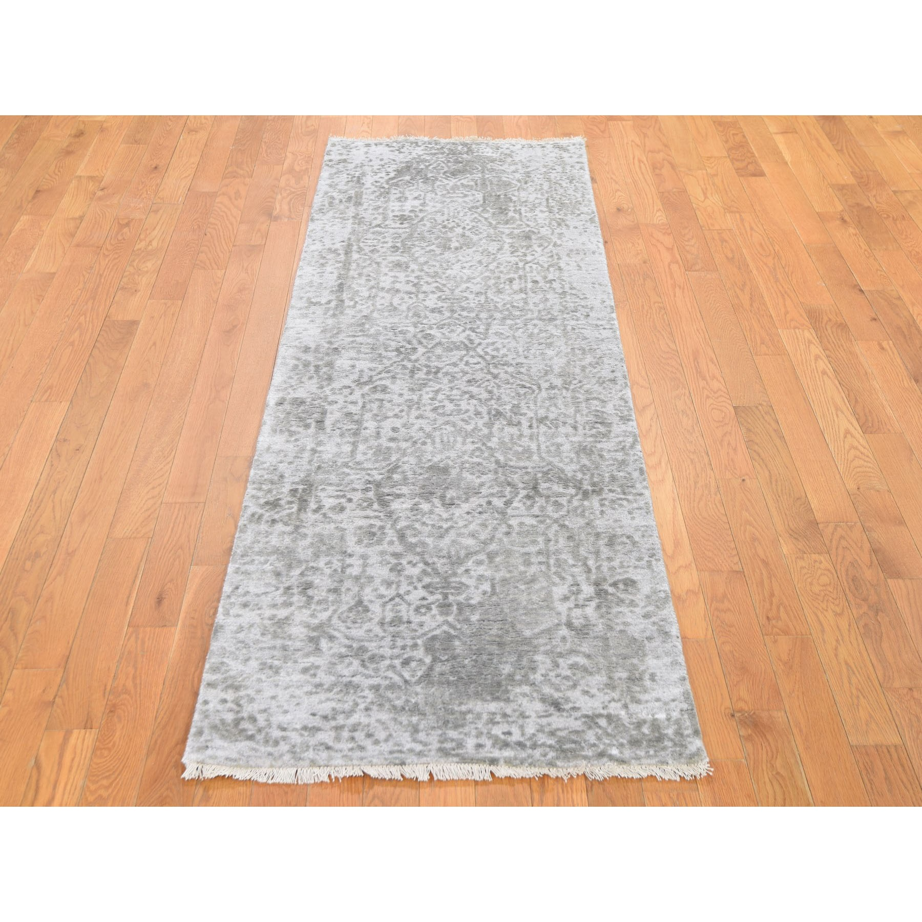 "2'7""x8'1"" Silver-Dark Gray Erased Persian Design Runner Wool and Pure Silk Hand Knotted Oriental Rug"
