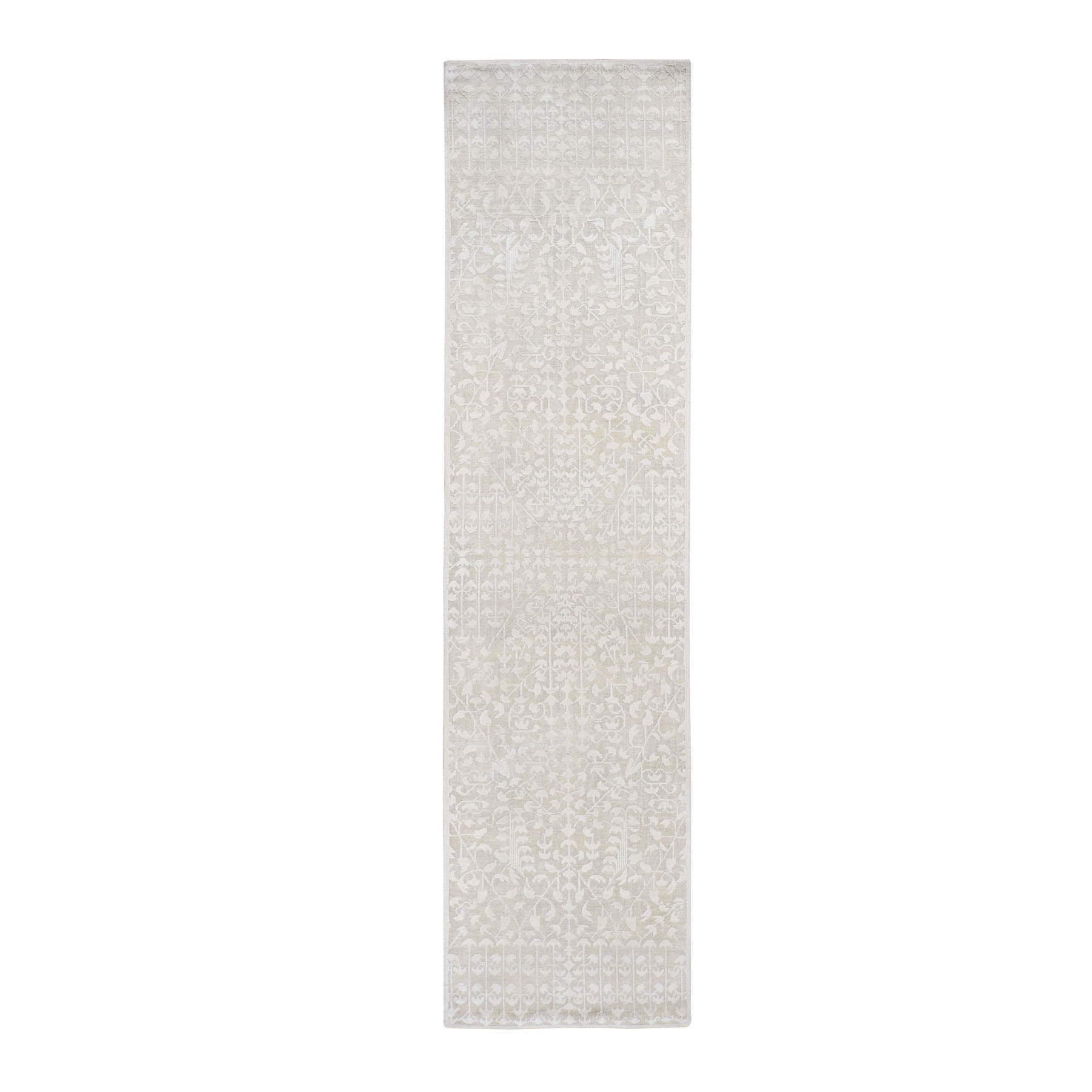 "2'6""X10'1"" Hand Knotted Tone On Tone Pure Silk With Textured Wool Runner Oriental Rug moad86a7"