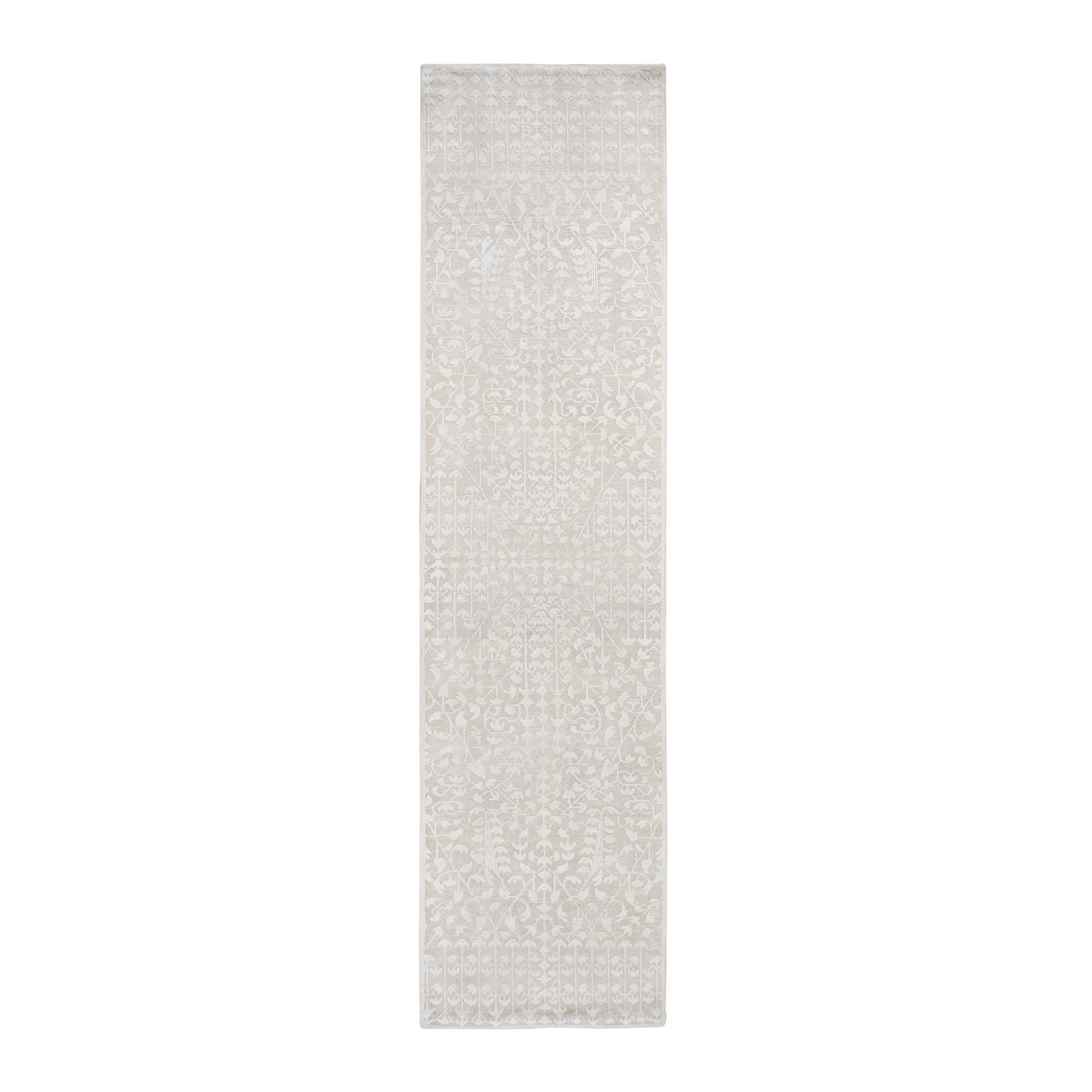 "2'6""X10'1"" Hand Knotted Tone On Tone Pure Silk With Textured Wool Runner Oriental Rug moad86a8"