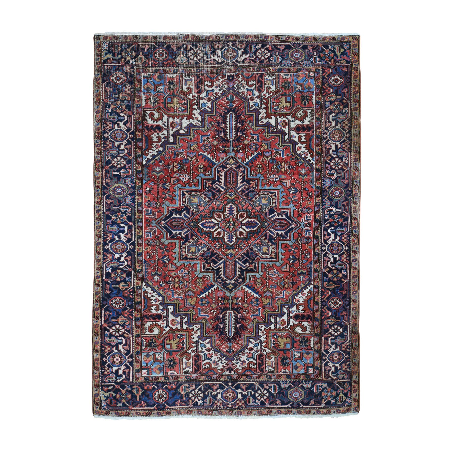 "6'5""X9' Red Antique Persian Heriz Some Wear Pure Wool Hand Knotted Oriental Rug moad86a9"