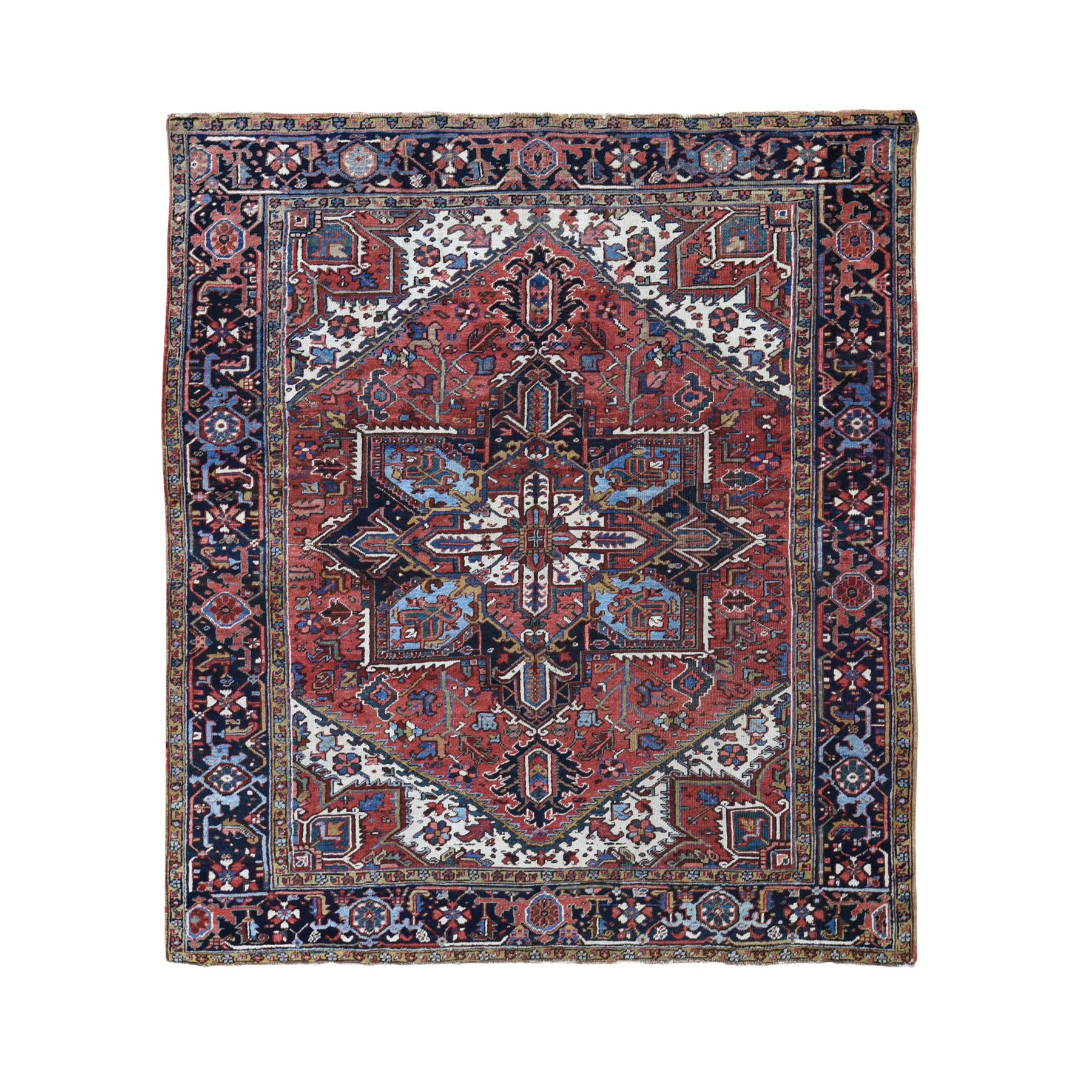 "7'10""X8'6"" Squarish Red Antique Persian Heriz Good Condition Clean Oriental Rug moad86bb"