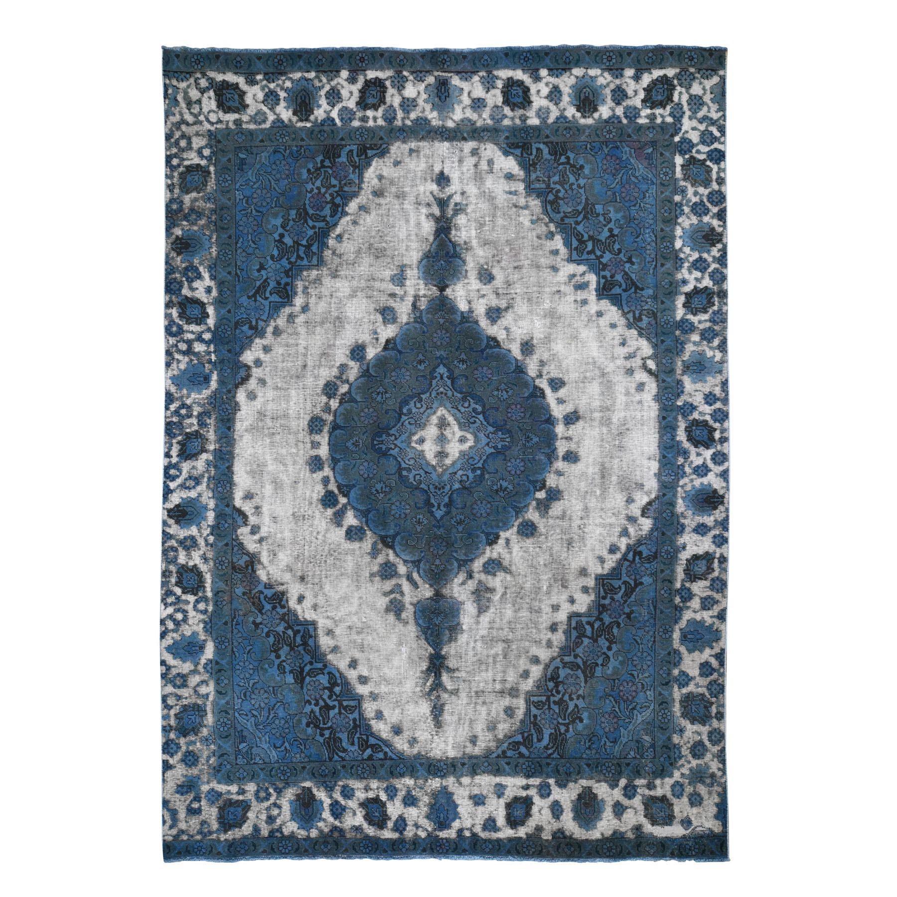 "7'10""x11' Blue Overdyed Persian Tabriz Barjasta Pure Wool Vintage Oriental Rug 48627"