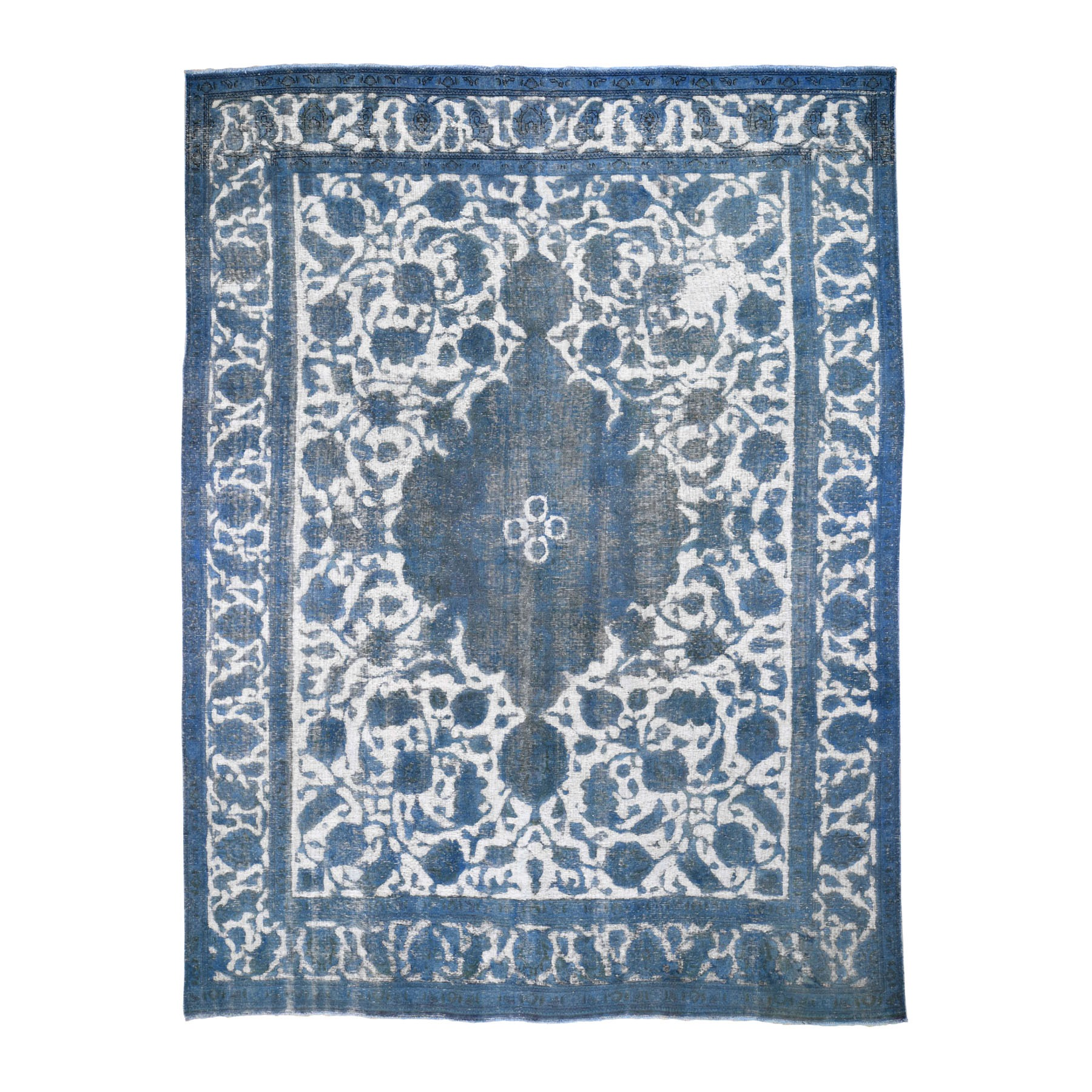 """9'2""""X12'5"""" Ivory Overdyed Persian Tabriz Barjasta Vintage Hand Knotted Oriental Rug moad86b8"""