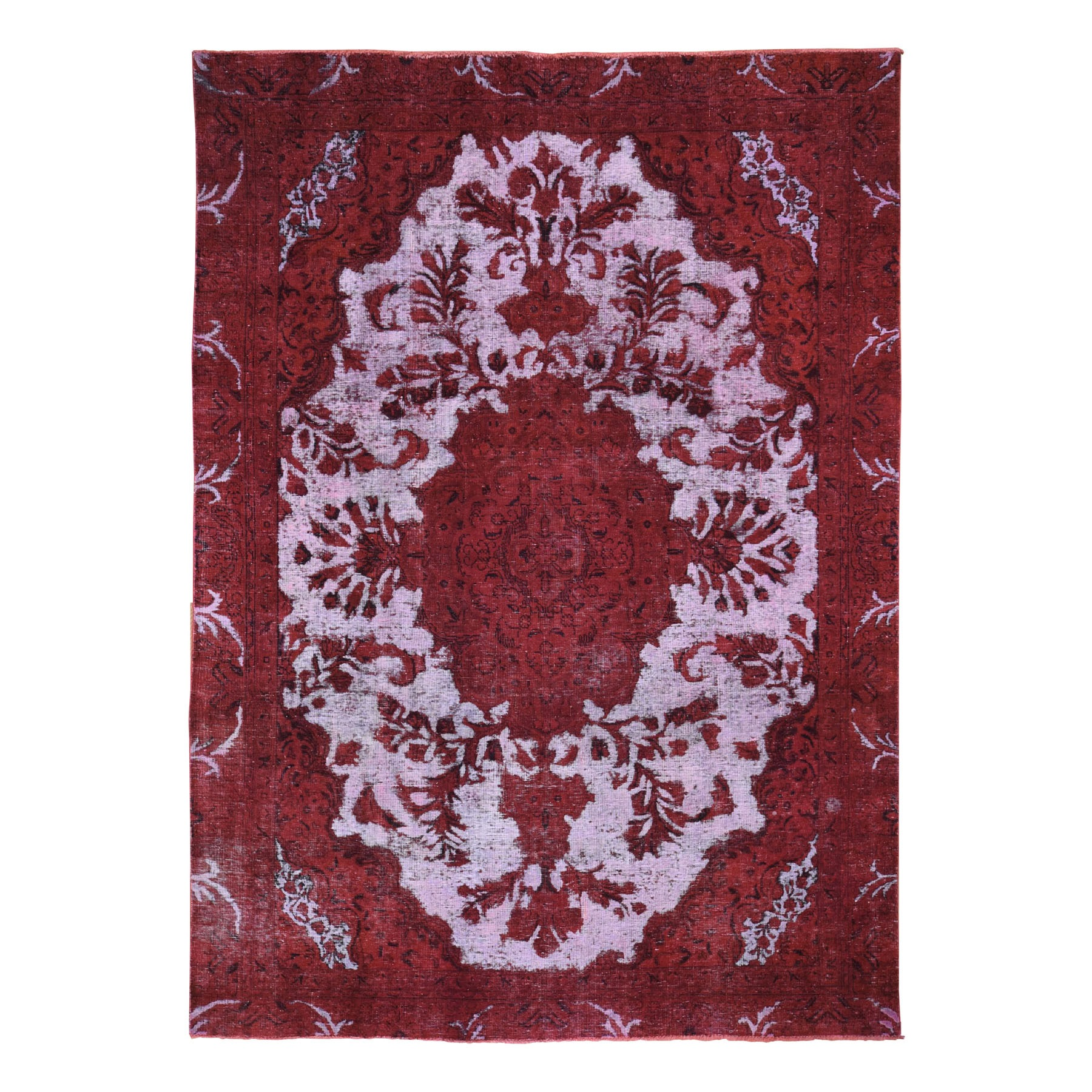 "7'X9'8"" Hand Knotted Overdyed Red Persian Tabriz Barjasta Vintage Rug moad86ca"
