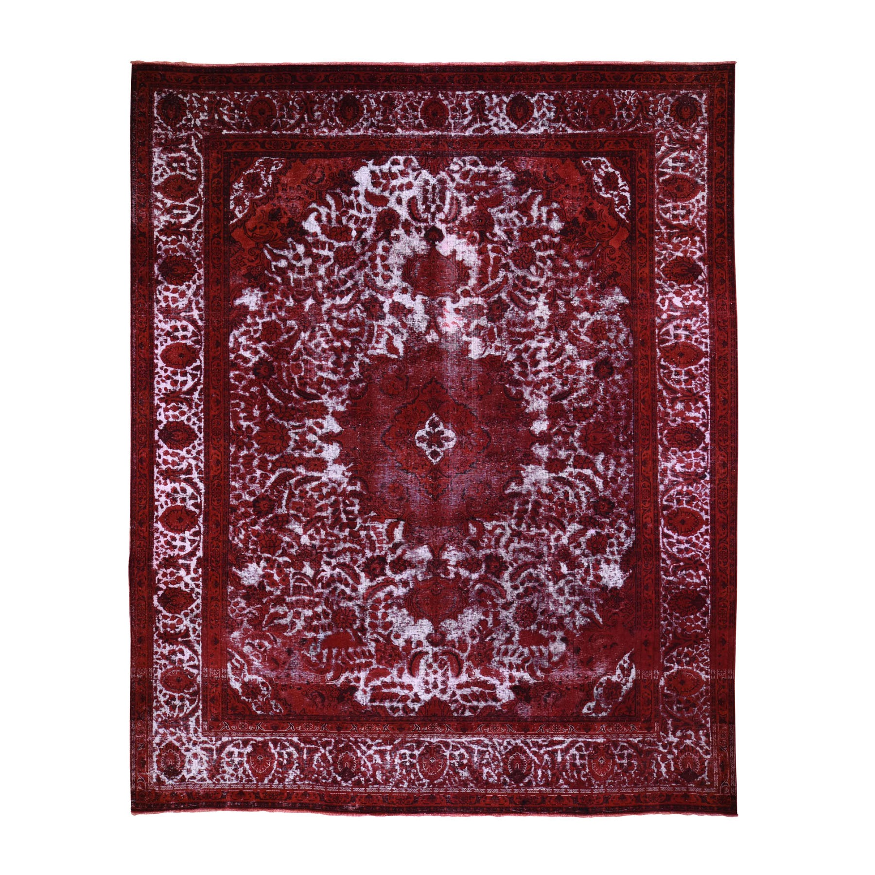 """10'X12'5"""" Pure Wool Red Overdyed Persian Tabriz Barjasta Vintage Rug moad86cb"""
