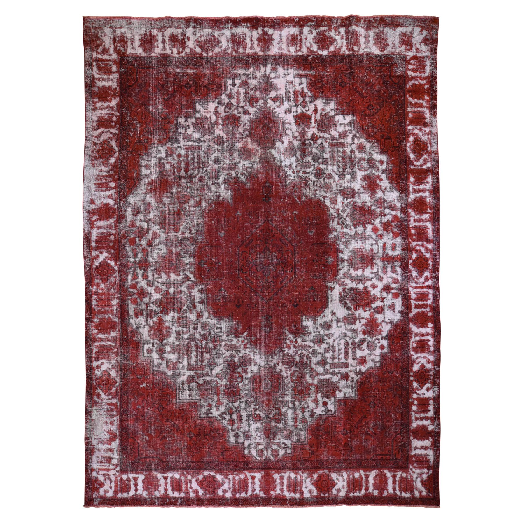"""9'3""""X12'6"""" Pure Wool Hand Knotted Overdyed Persian Tabriz Barjasta Vintage Oriental Rug moad86ce"""