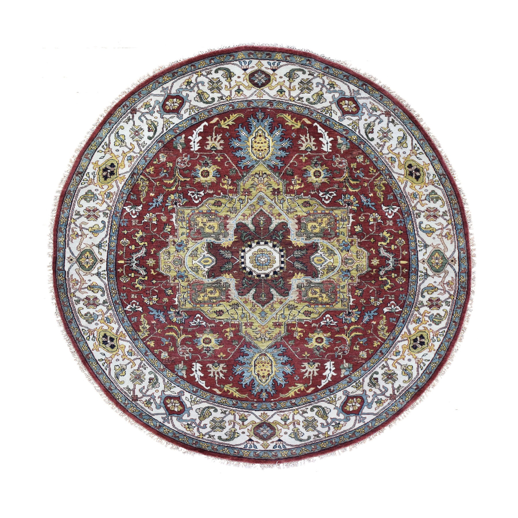 """7'9""""X7'9"""" Round Red Heriz Revival Pure Wool Hand Knotted Oriental Rug moad86c7"""