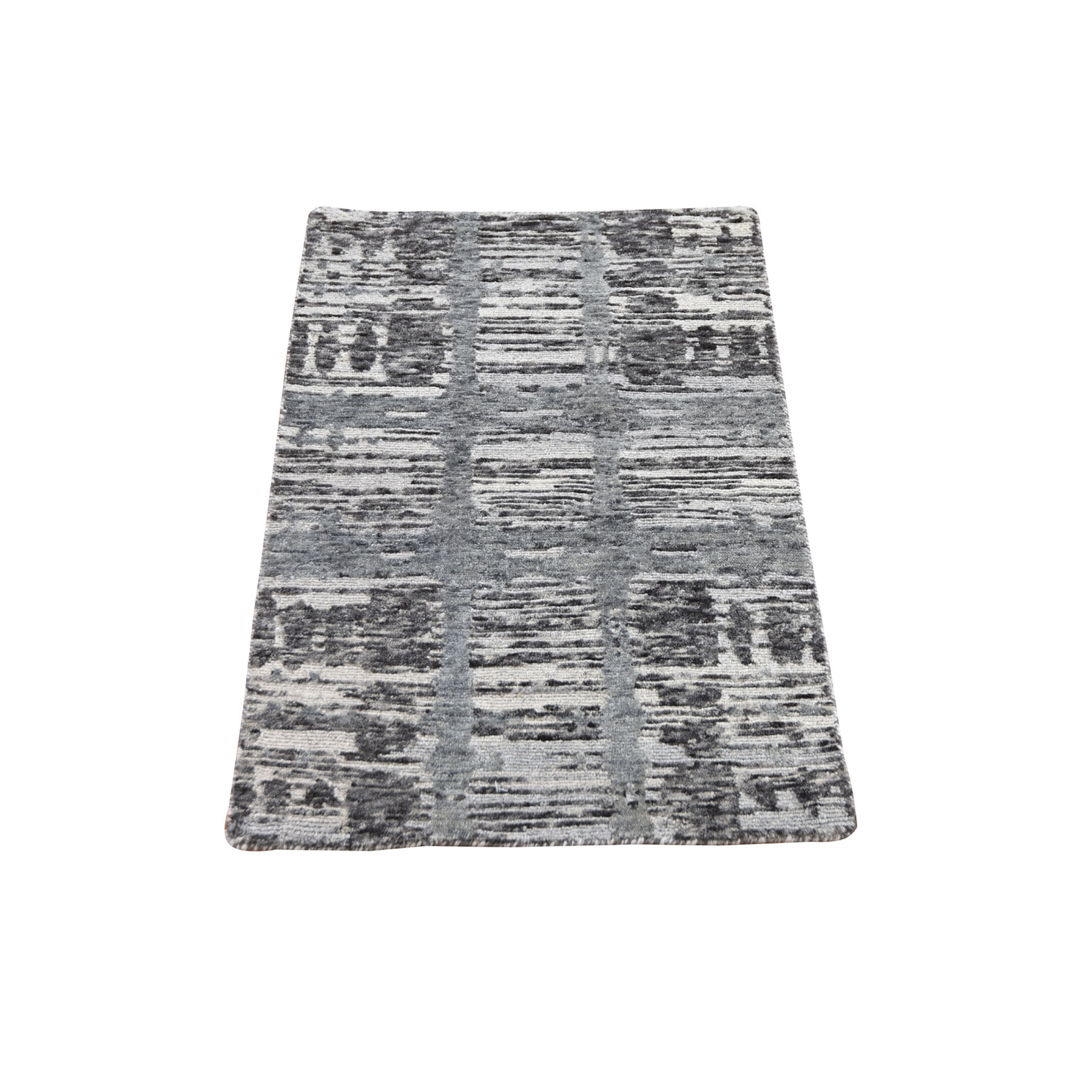 2'x3' Gray Hand Spun Undyed Natural Wool Modern Hand Knotted Oriental Rug