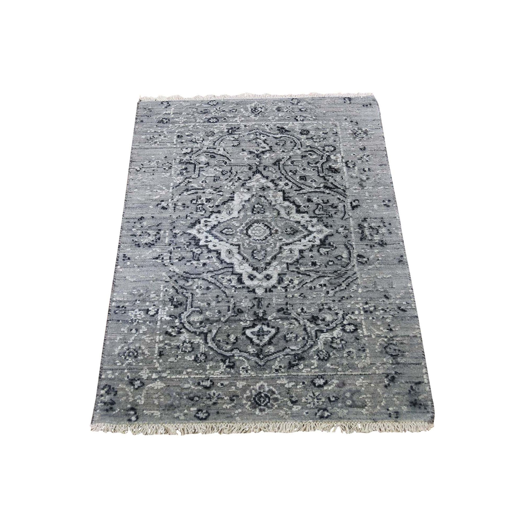 2'X3' Gray Broken Persian Erased Design Silk With Textured Wool Hand Knotted Oriental Rug moad86d0