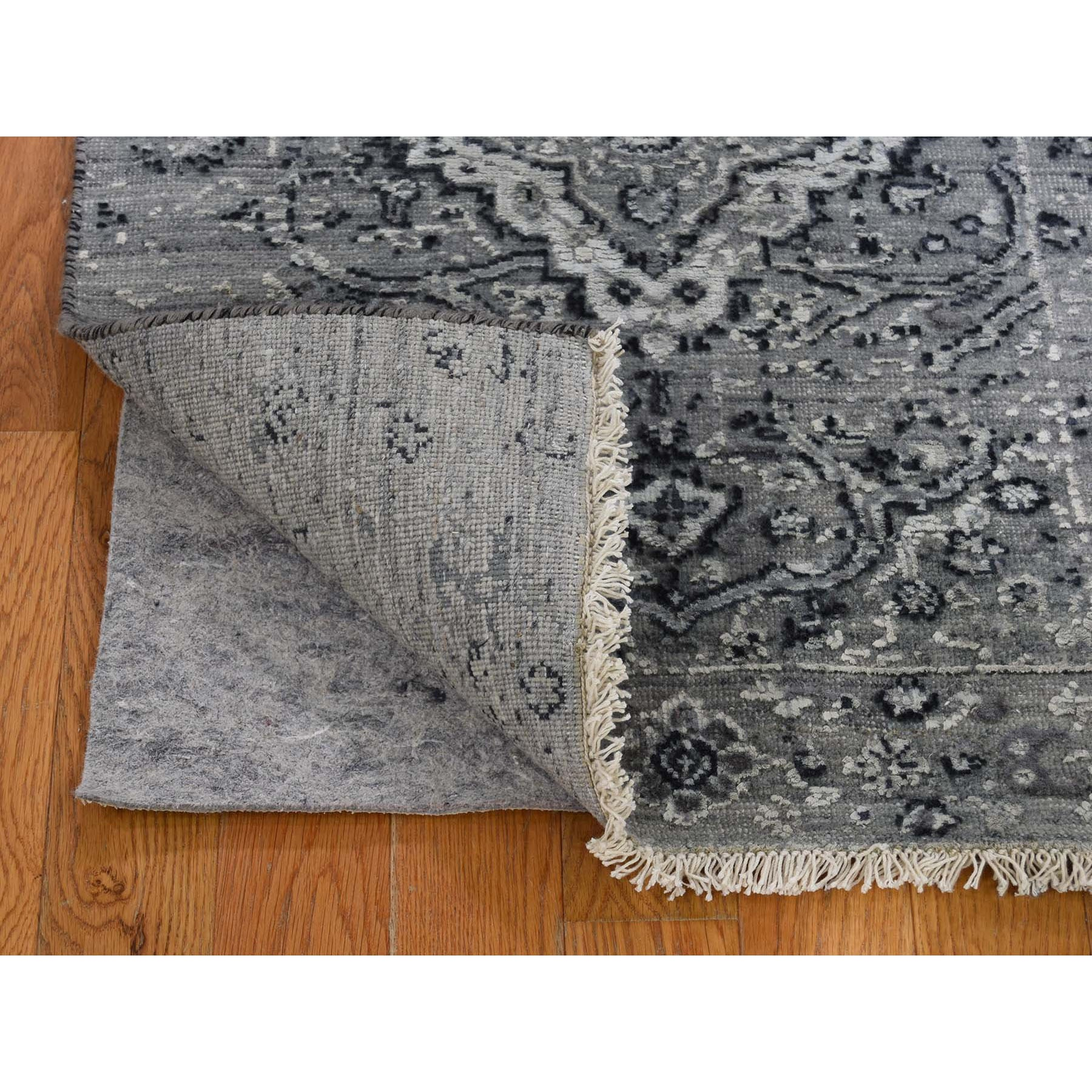2-x3- Gray Broken Persian Erased Design Silk With Textured Wool Hand Knotted Oriental Rug
