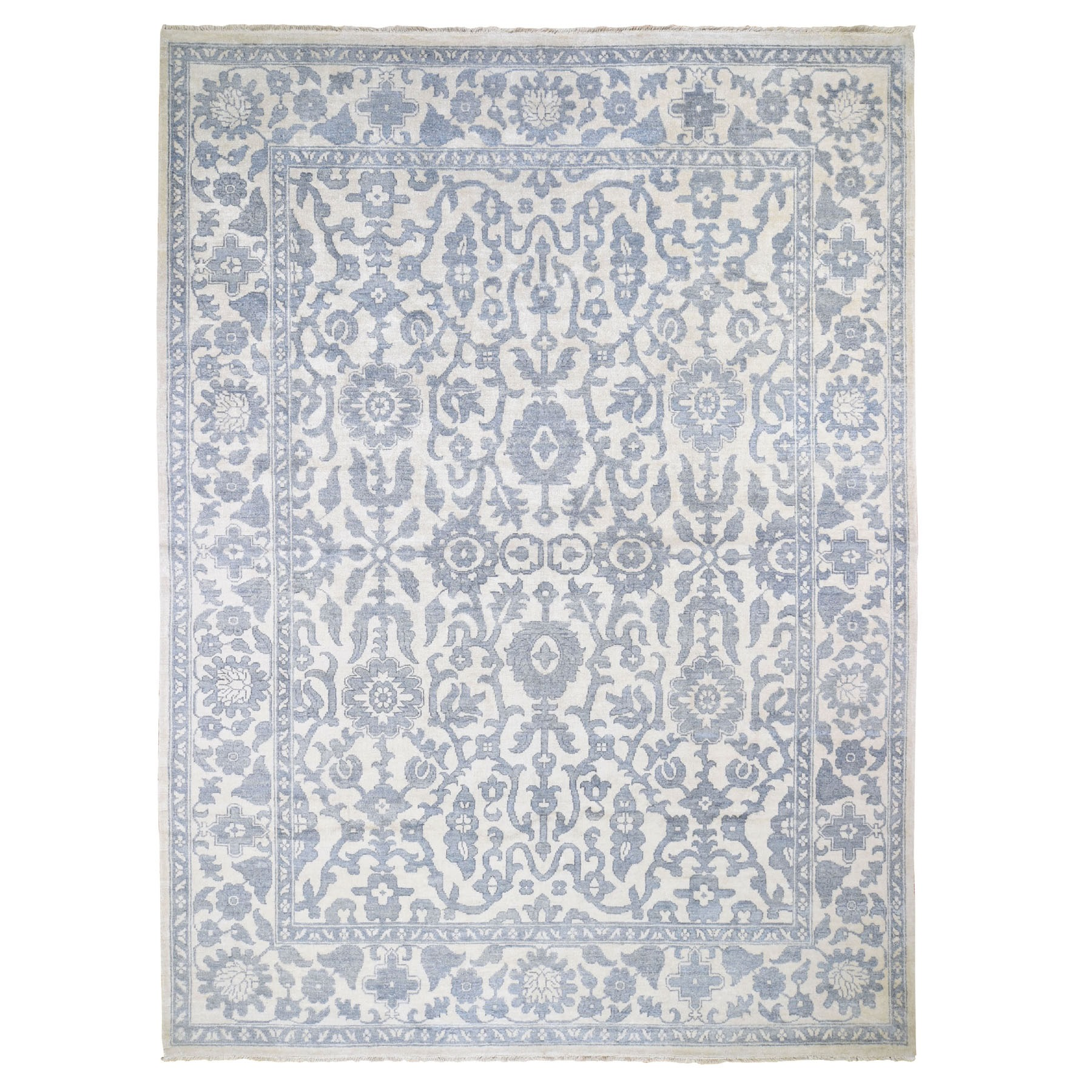 """8'10""""X12' Tone On Tone Art Silk Hand-Knotted Oushak Oriental Rug moad86db"""