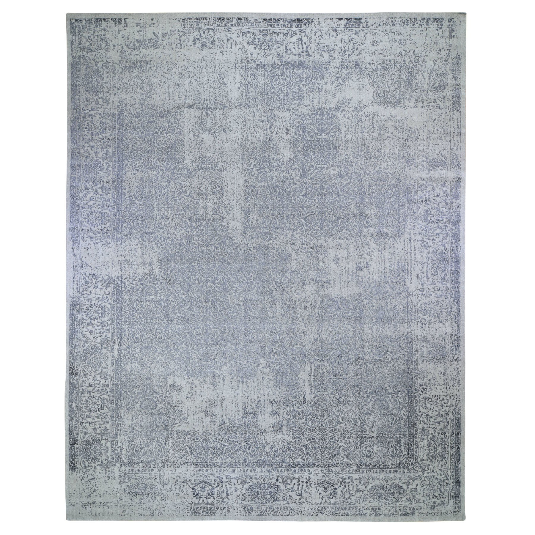 "11'7""x14'10"" Oversized Fine jacquard Hand Loomed Erased Design Wool And Silk Oriental Rug"