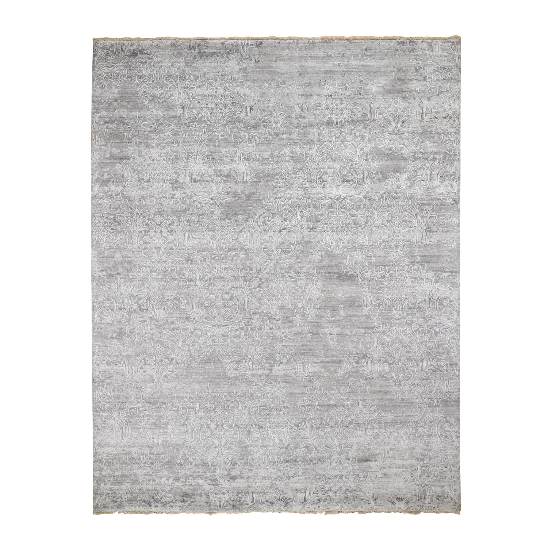"7'10""X10' Gray Damask Tone On Tone Wool and Silk Hand Knotted Oriental Rug"