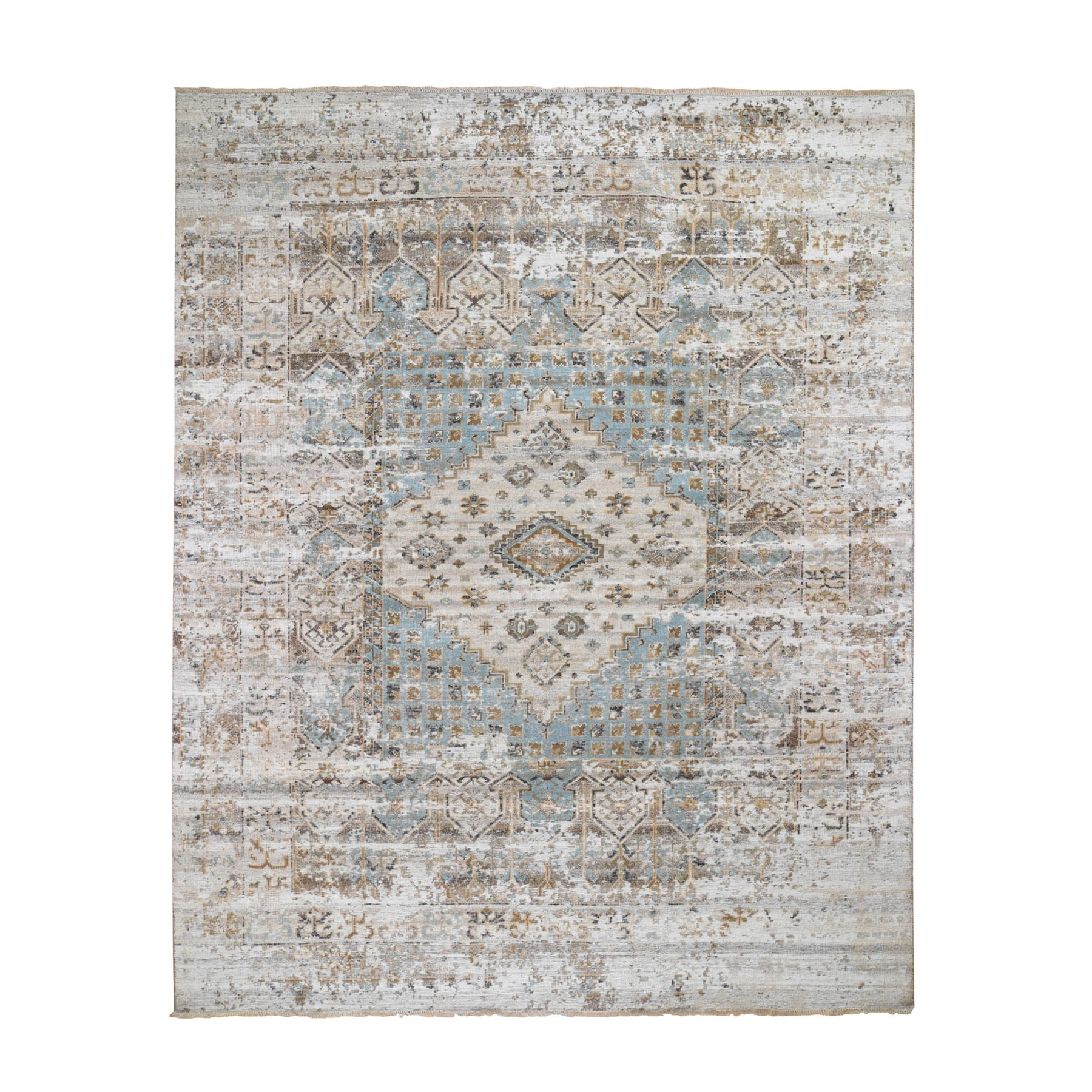"8'3""x10'4"" Gray Serrated Vintage And Erased Shiraz Design Hand Knotted Oriental Rug"