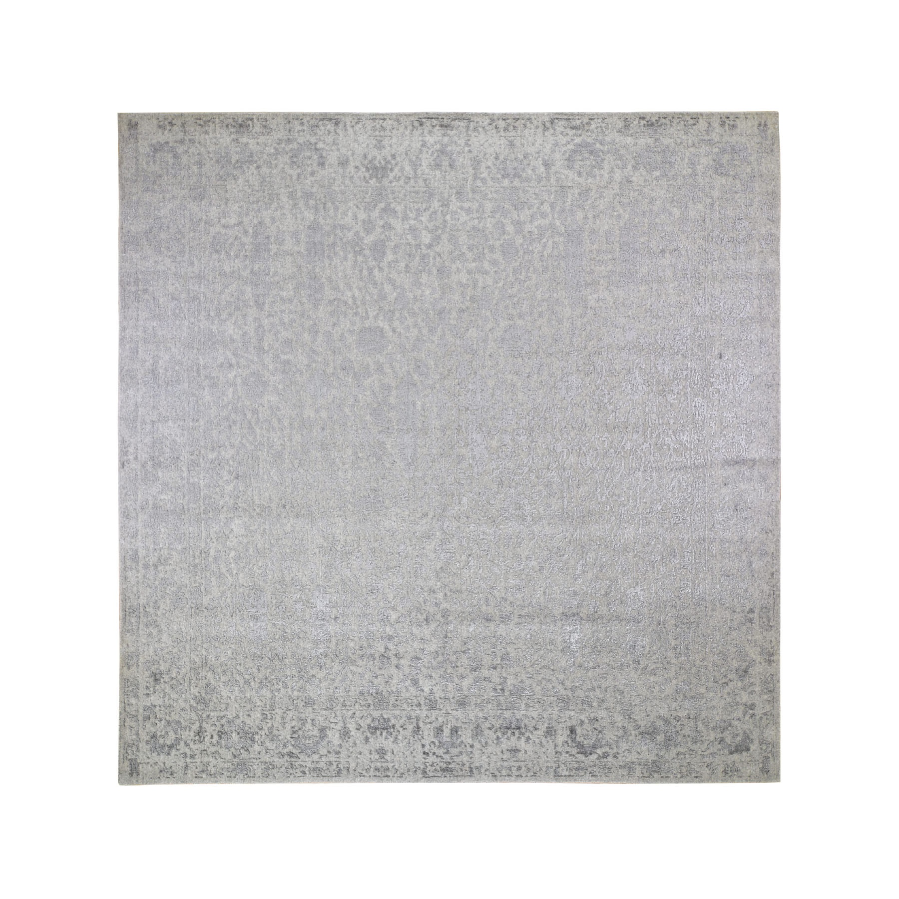 10'x10' Square jacquard Hand Loomed Gray Broken Cypress Tree Design Wool And Silk Thick And Plush Oriental Rug