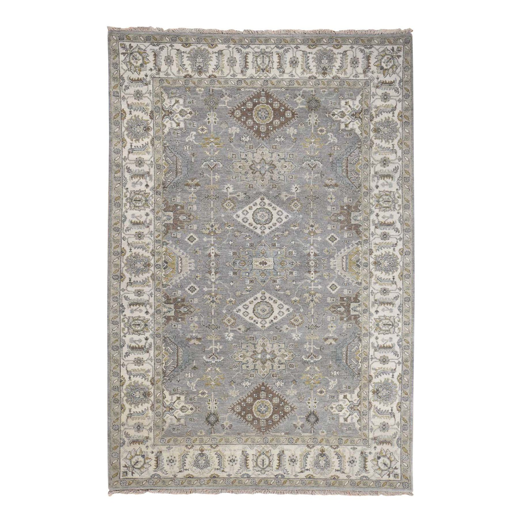 "6'3""x8'9"" Gray Karajeh Design Pure Wool Hand Knotted Oriental Rug"