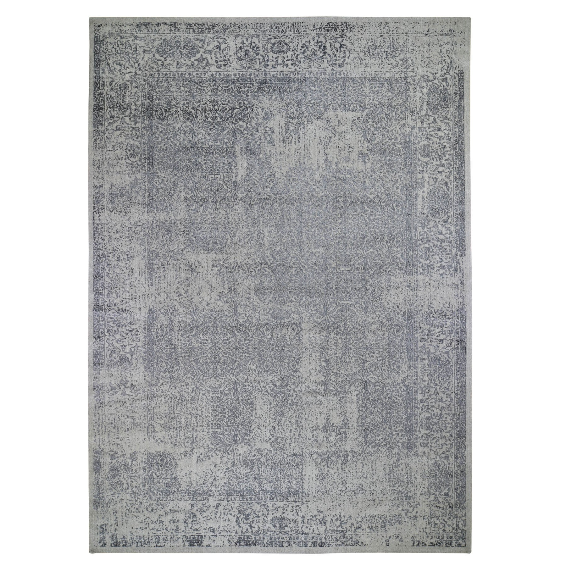 "9'10""X14' Fine Jacquard Hand Loomed Erased Design Wool And Silk Oriental Rug moad86e7"