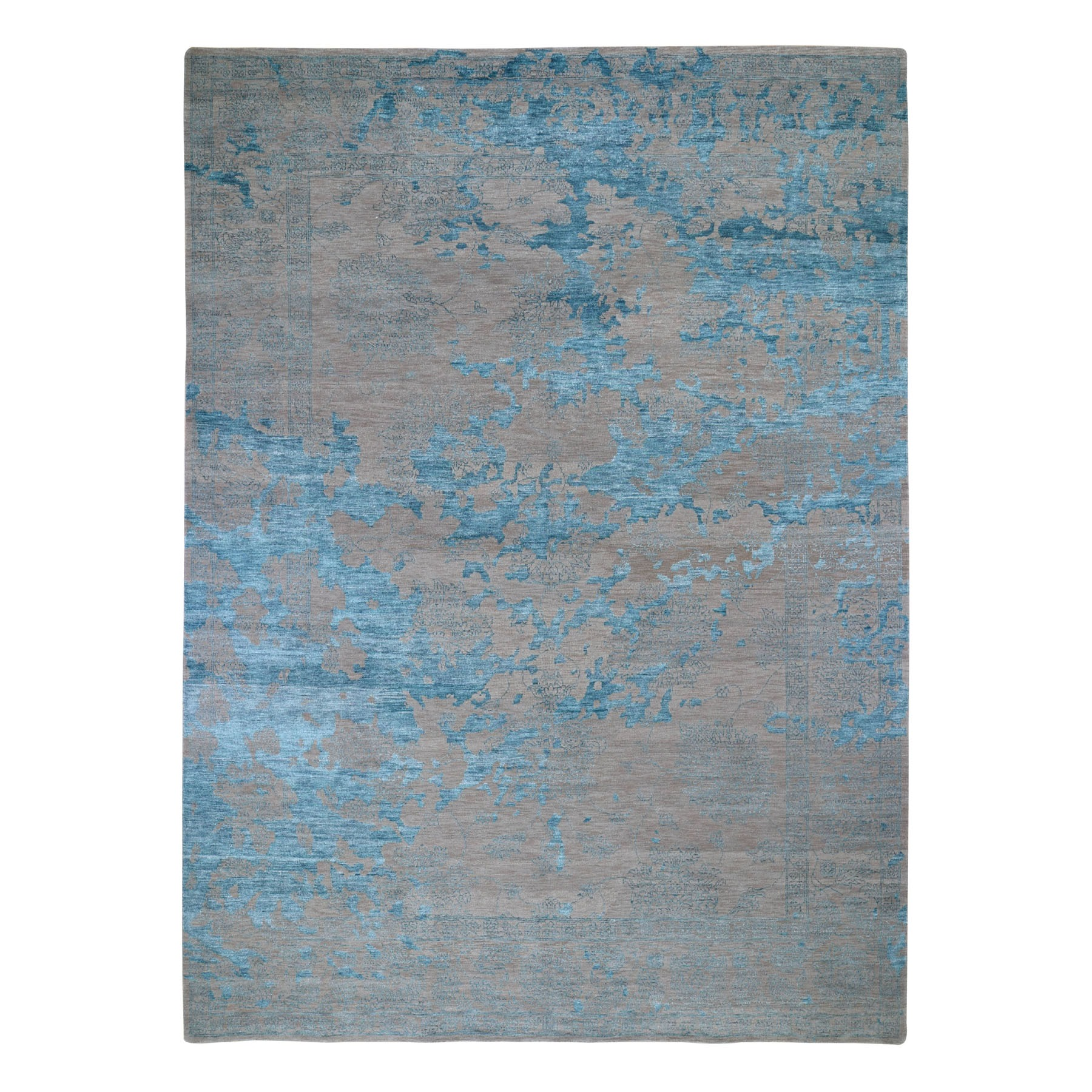 "8'10""x12' Aquamarine Tone On Tone Stained Design Hand Knotted Oriental Rug"