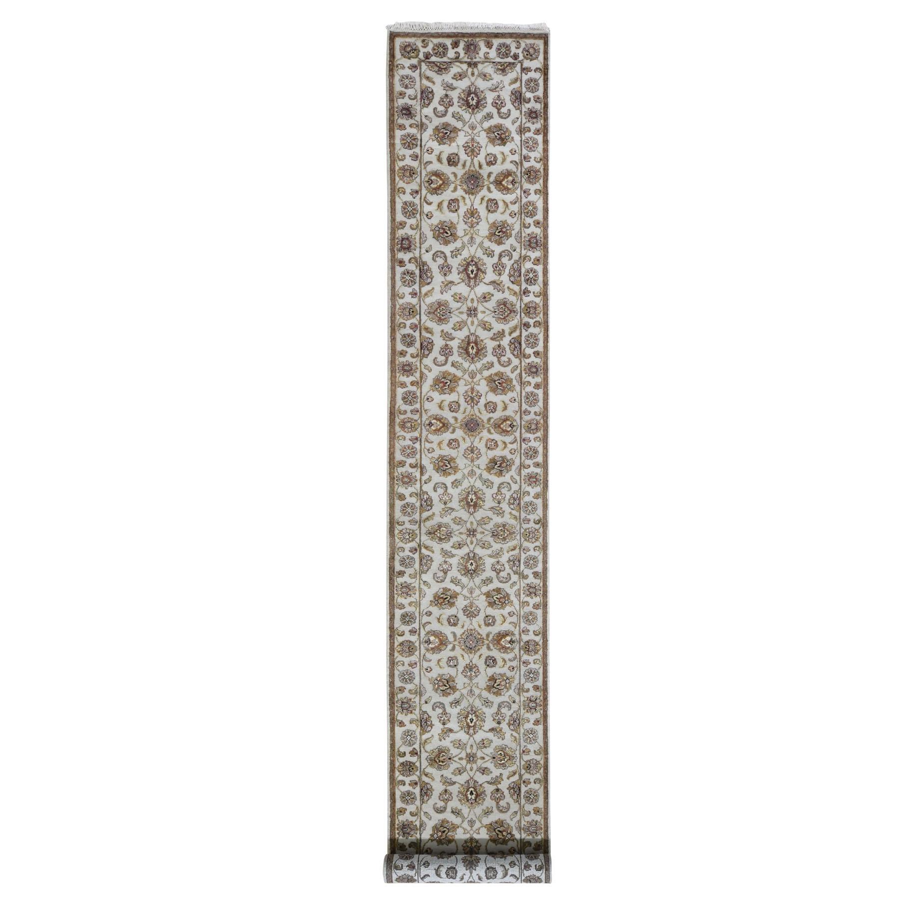 "2'7""x16' Half Wool And Half Silk Rajasthan Hand Knotted XL Runner Oriental Rug"