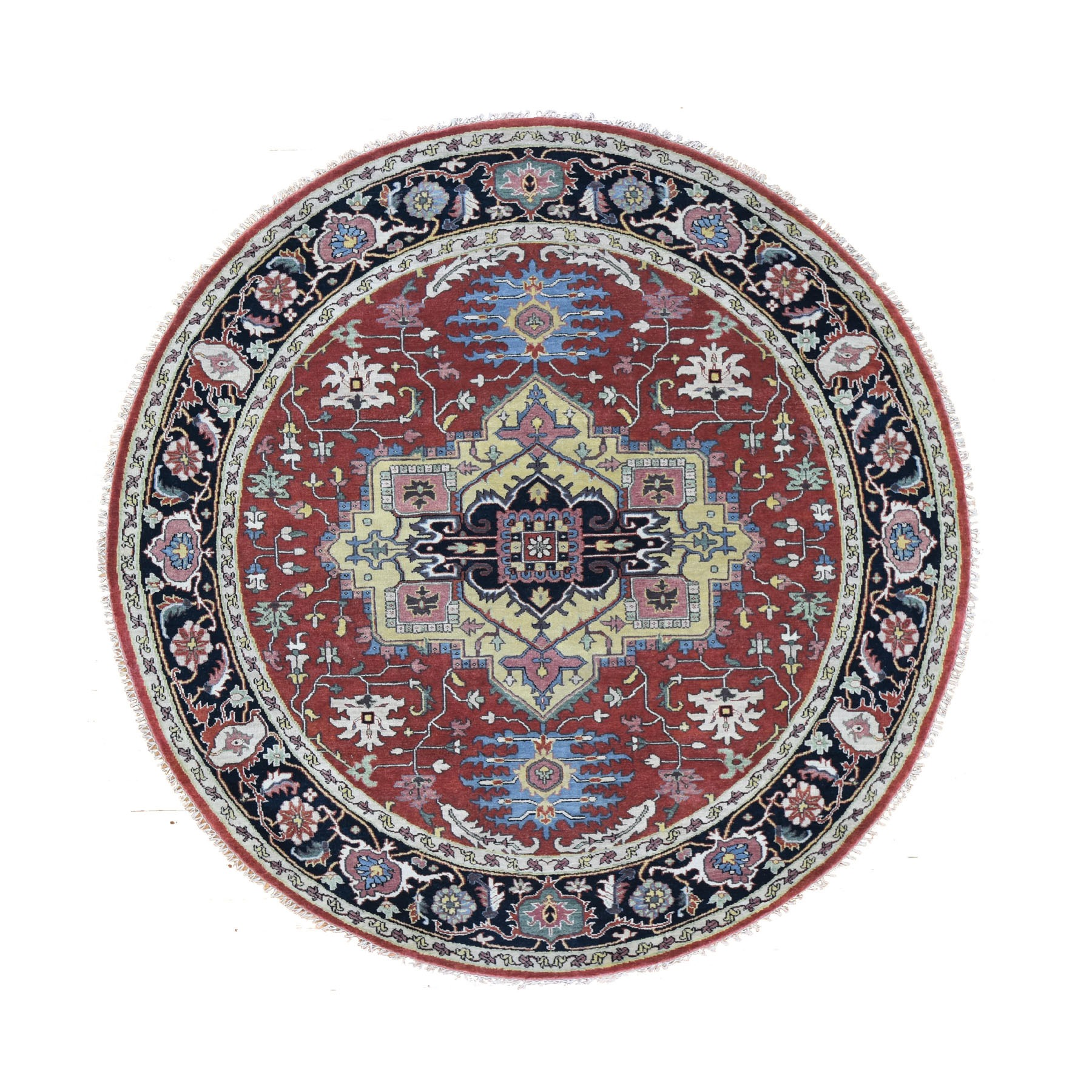 "7'10""X7'10"" Round Red Heriz Revival Pure Wool Hand Knotted Oriental Rug moad8669"
