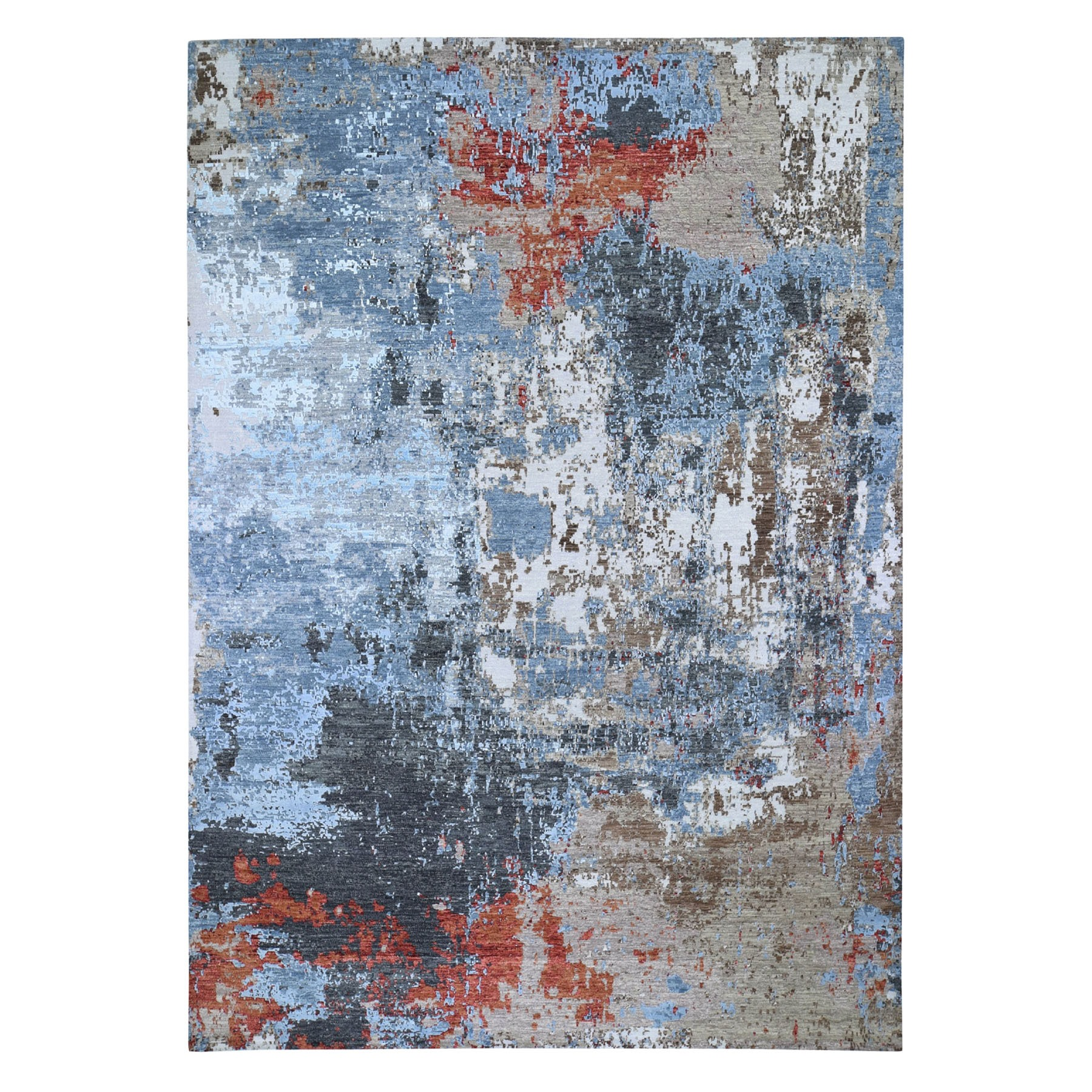 9'X12' Red Abstract Design Wool And Silk Hi-Low Pile Denser Weave Hand Knotted Oriental Rug moad8670