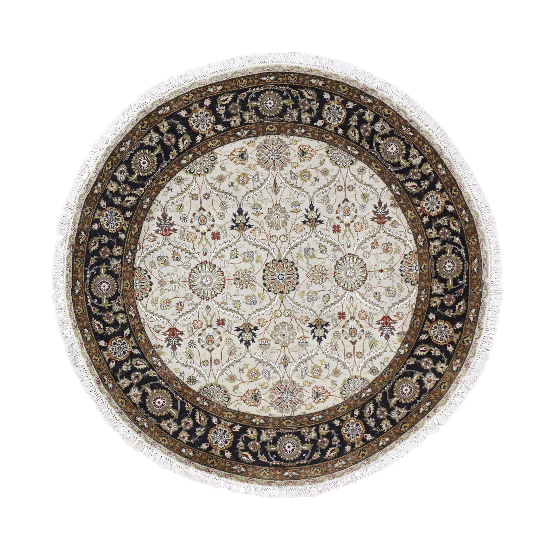 "6'2""X6'2"" Hereke Design Wool And Silk Hand-Knotted 300 Kpsi Round Oriental Rug moad8677"