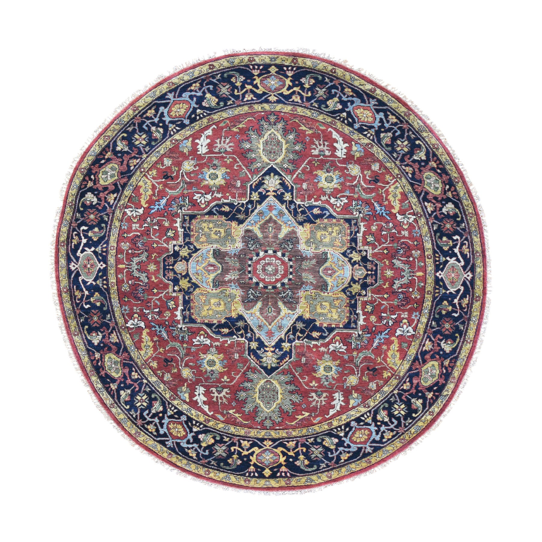 """7'9""""x7'9"""" Round Red Heriz Revival Pure Wool Hand Knotted Oriental Rug"""