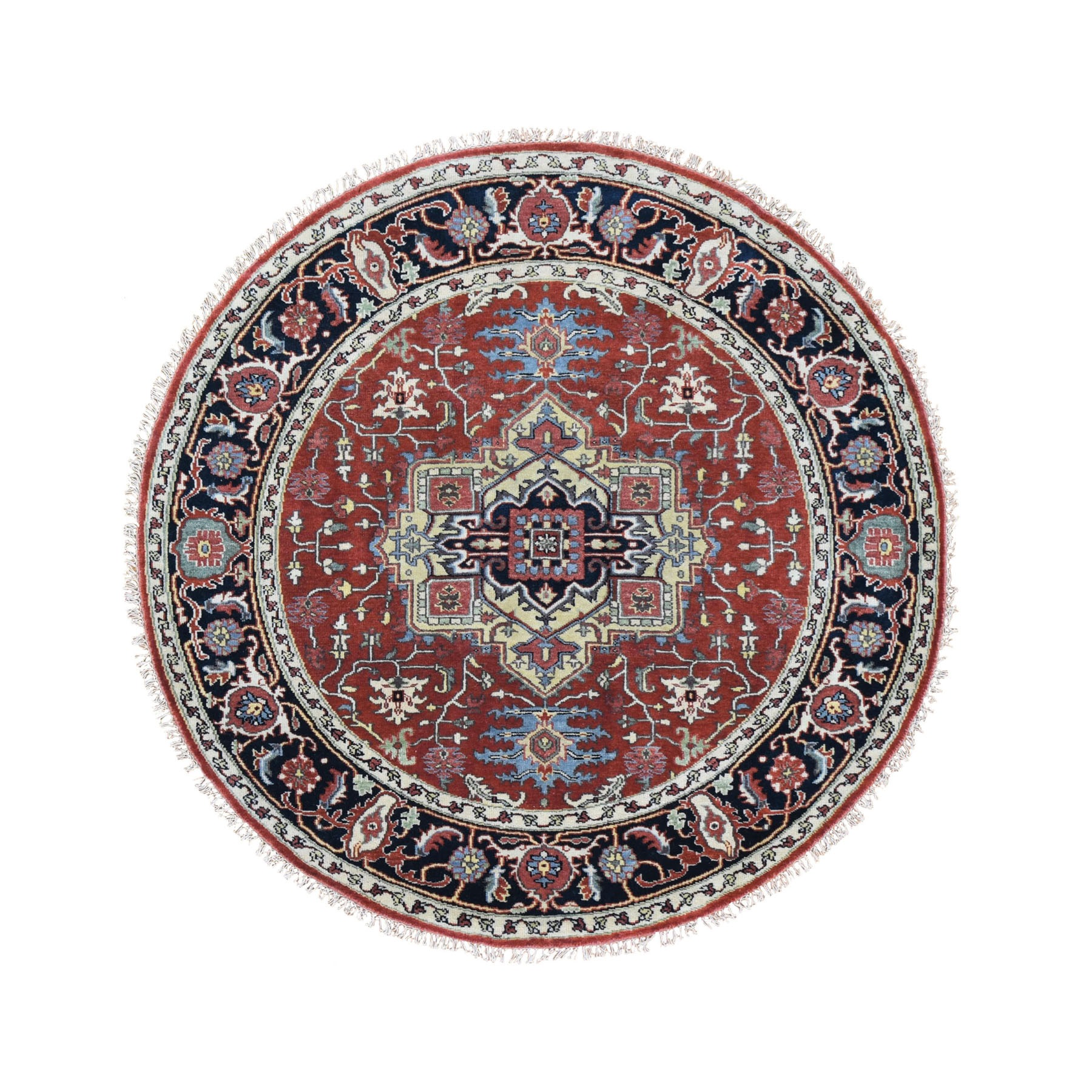 6'X6' Round Red Heriz Revival Pure Wool Hand Knotted Oriental Rug moad868a