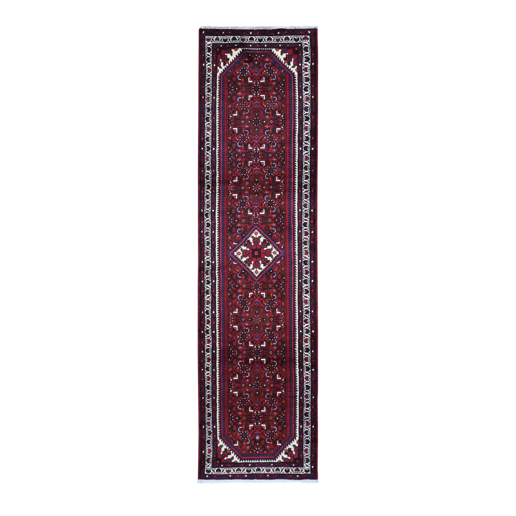 "2'6""x10' Red New Persian Hamadan Pure Wool Runner Hand Knotted Oriental Rug"