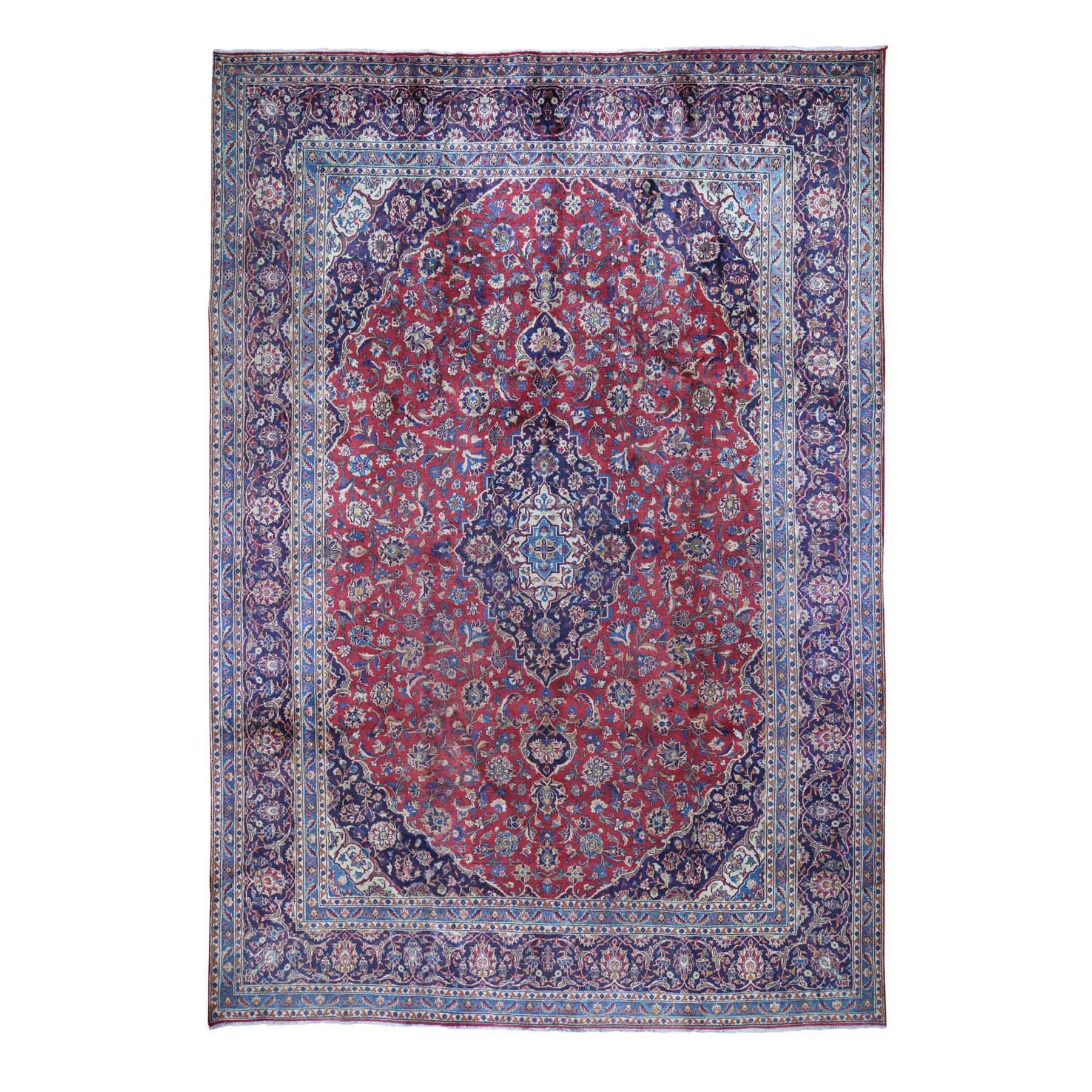 "9'6""X13'2"" Red Semi Antique Persian Kashan Full Pile Pure Wool Hand Knotted Oriental Rug moad8690"