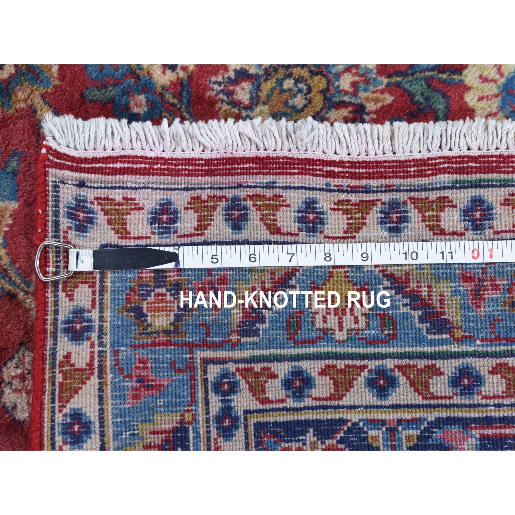 """9'6""""x13'2"""" Red Semi Antique Persian Kashan Full Pile Pure Wool Hand Knotted Oriental Rug"""