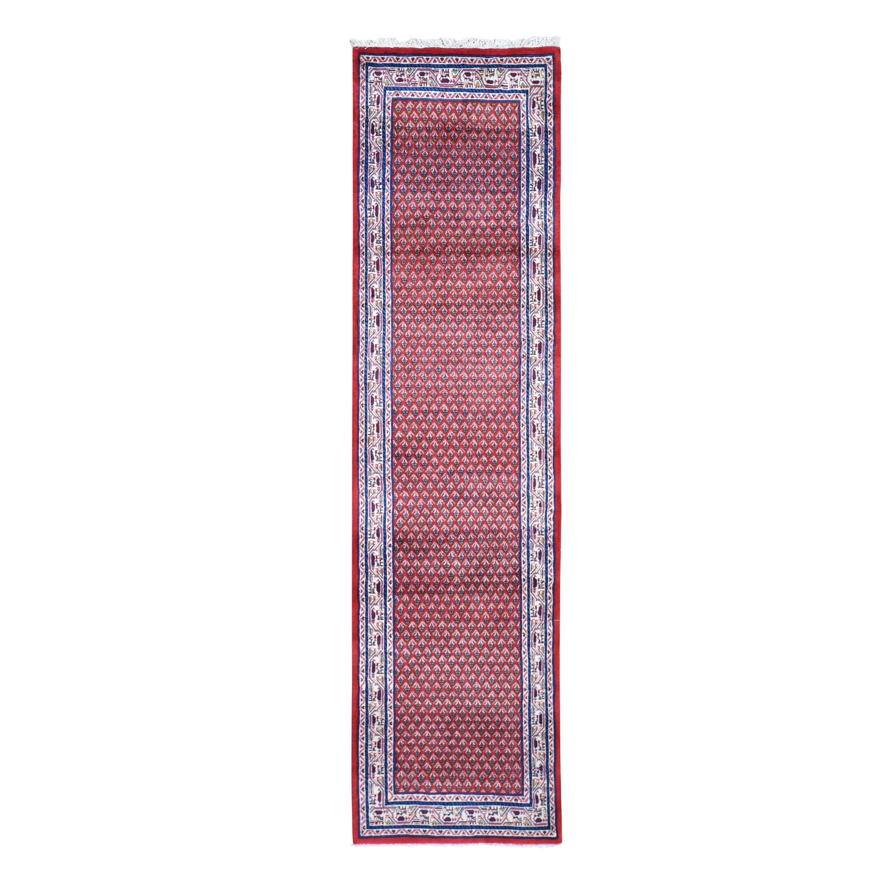 "2'8""X10'4"" Red New Persian Sarouk Mir Runner Pure Wool Hand Knotted Oriental Rug moad869b"