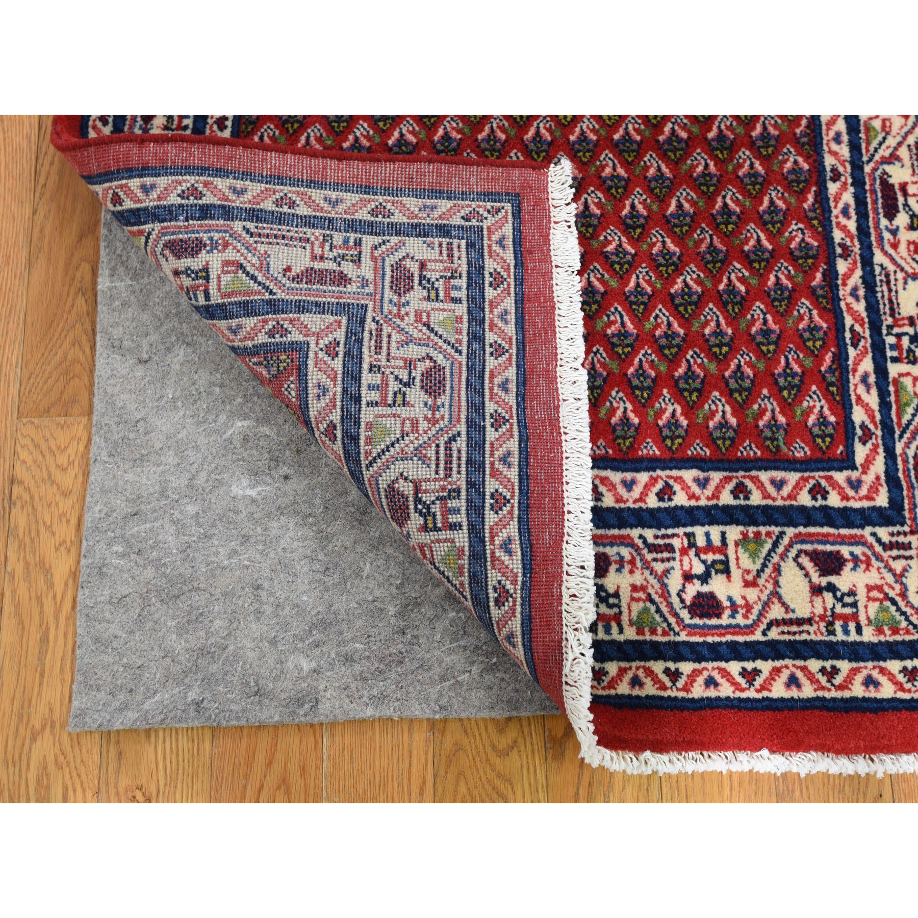 """2'8""""x10'4"""" Red New Persian Sarouk Mir Runner Pure Wool Hand Knotted Oriental Rug"""