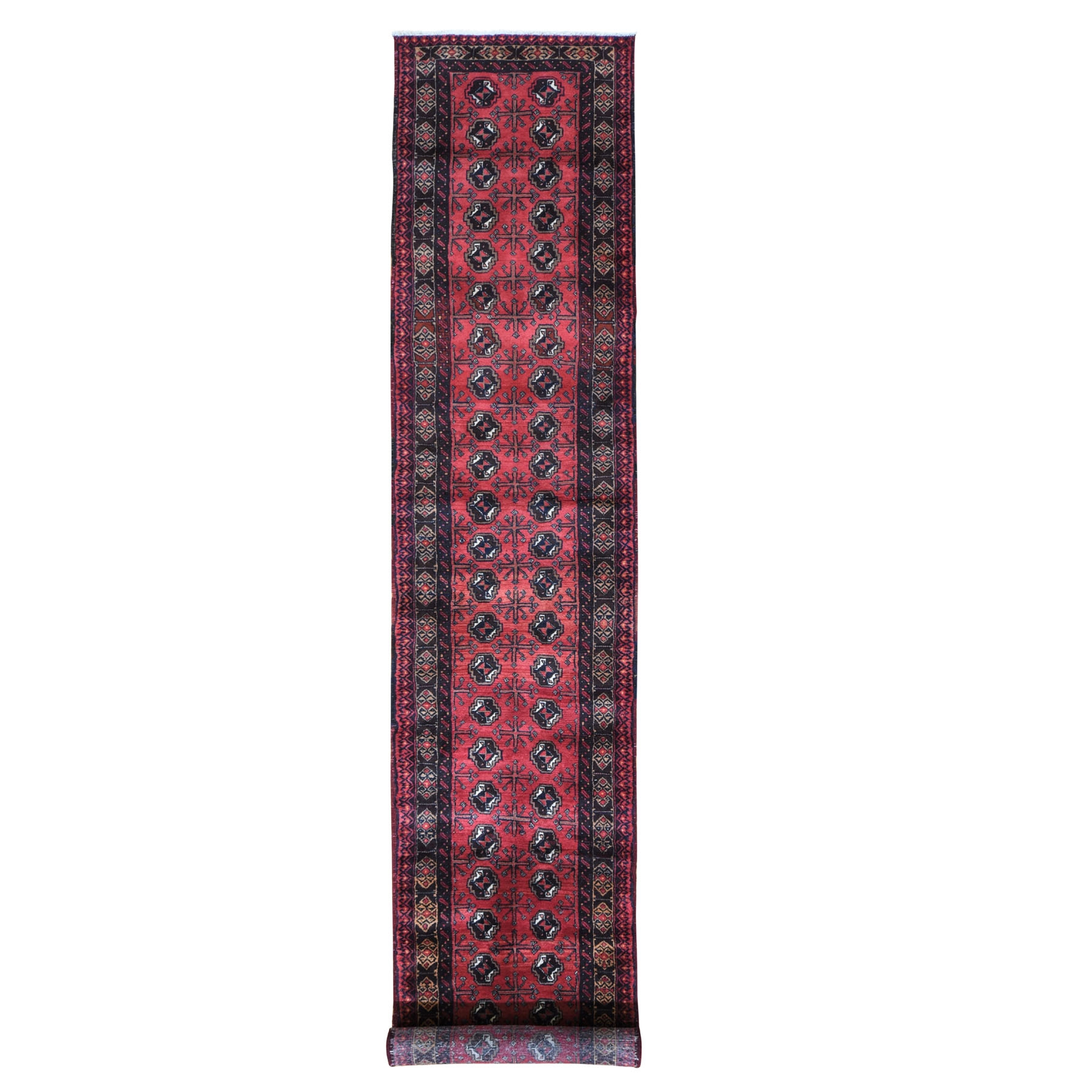 """2'3""""x12'2"""" Red Vintage Persian Baluch Runner Hand Knotted Oriental Rug"""