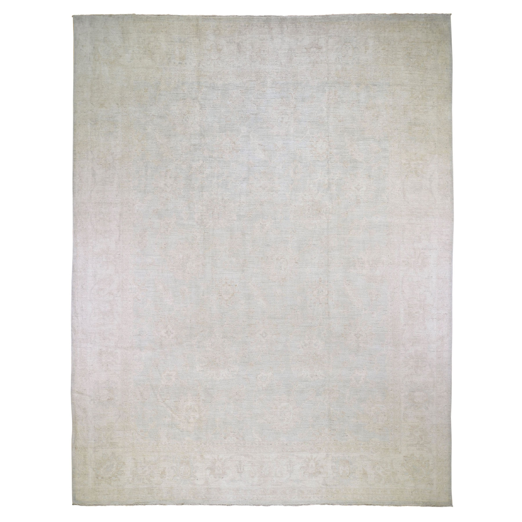 "11'10""X15' Oversized White Wash Peshawar Hand Knotted Pure Wool Oriental Rug moad869d"
