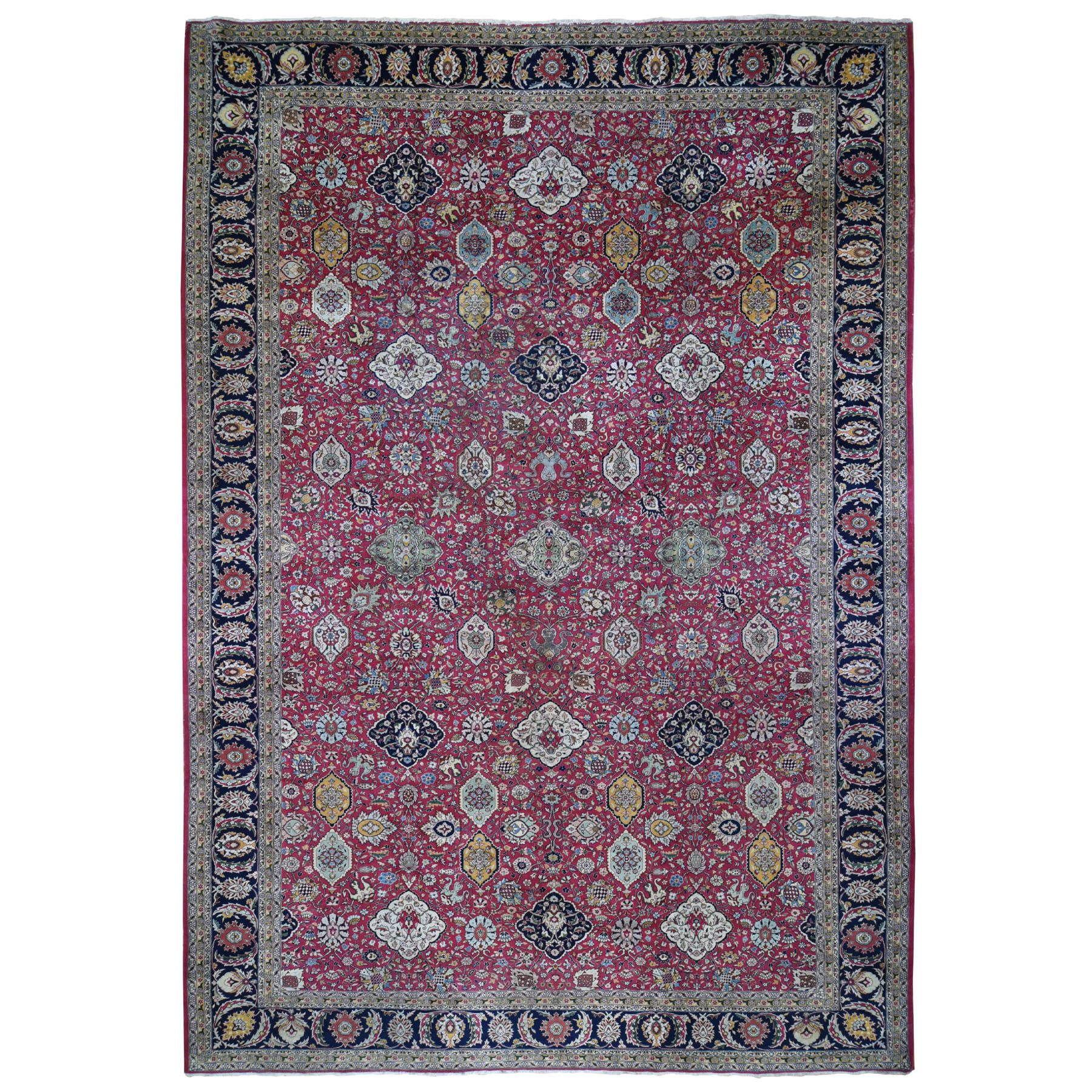 "11'10""x18'6"" Oversized Red Vintage Persian Tabriz All Over Design Some Wear Hand Knotted Oriental Rug"