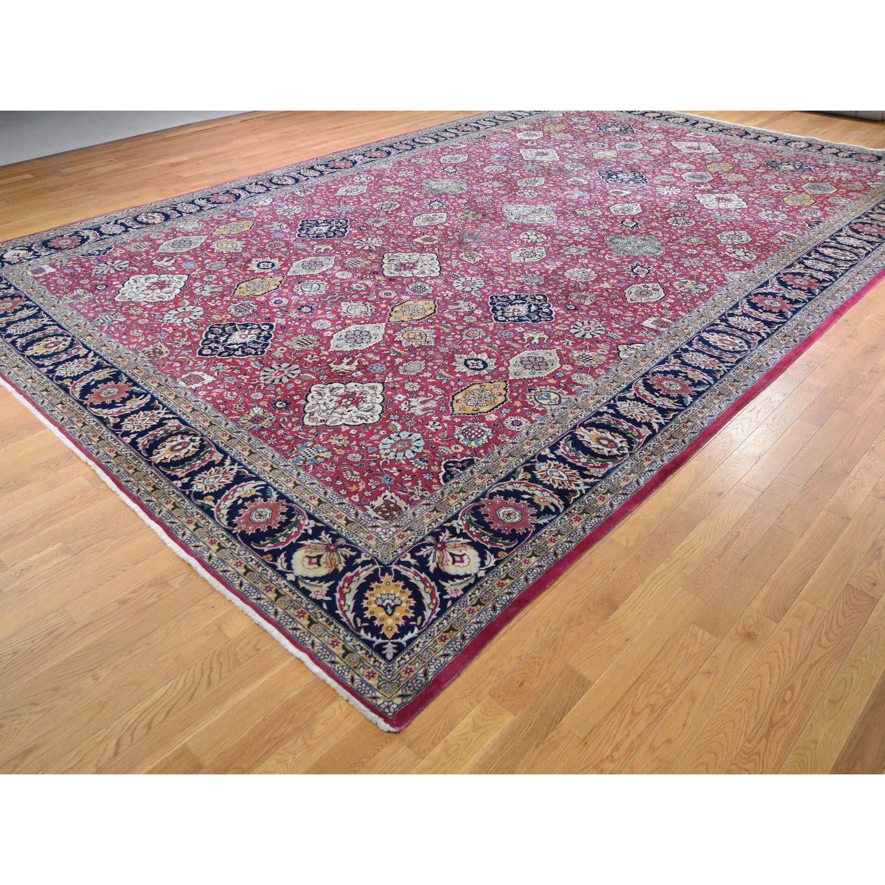 11-10 x18-6  Oversized Red Vintage Persian Tabriz All Over Design Some Wear Hand Knotted Oriental Rug