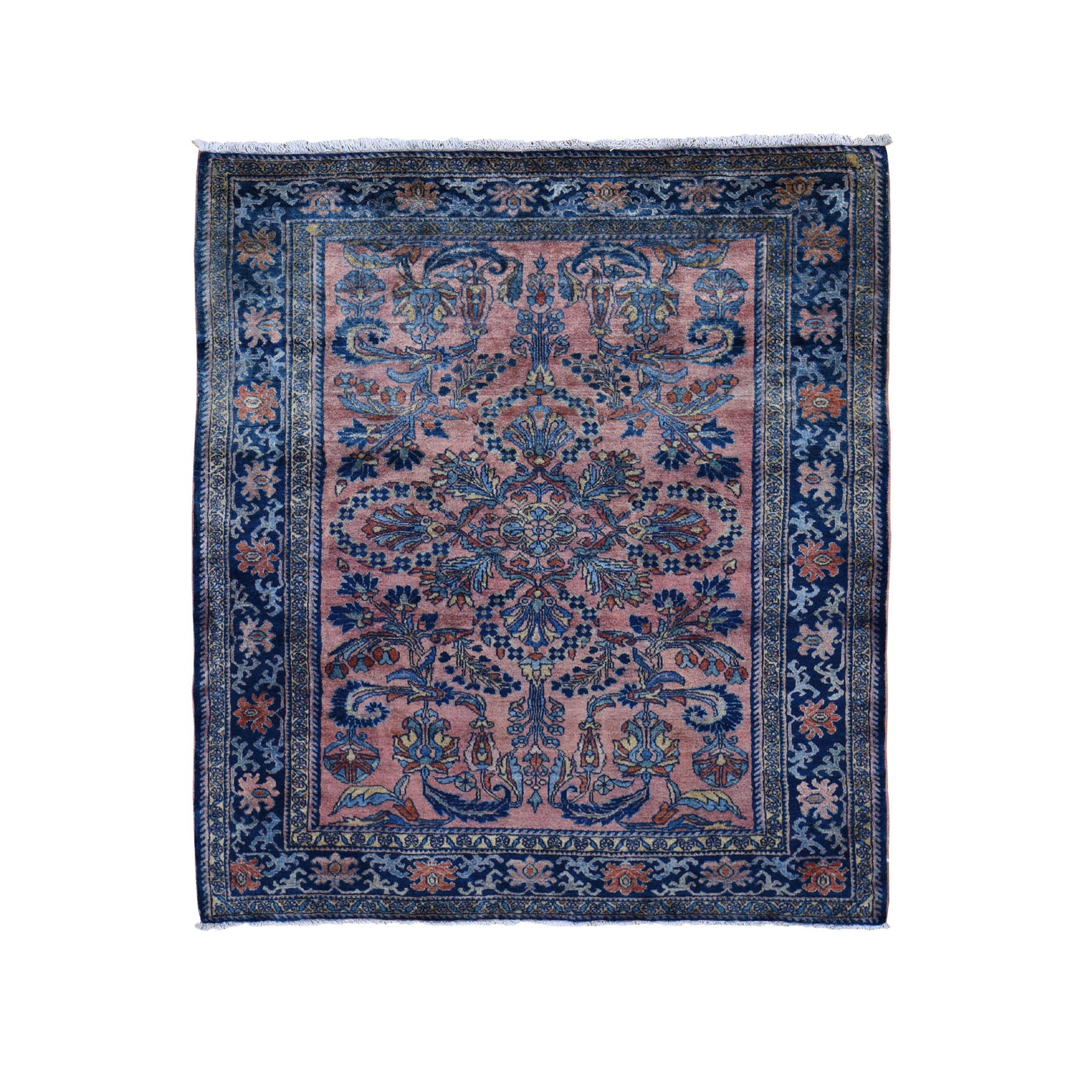 "5'4""x6'1"" Coral Antique Persian Lilahan Full Pile Clean And Soft Hand Knotted Oriental Rug"