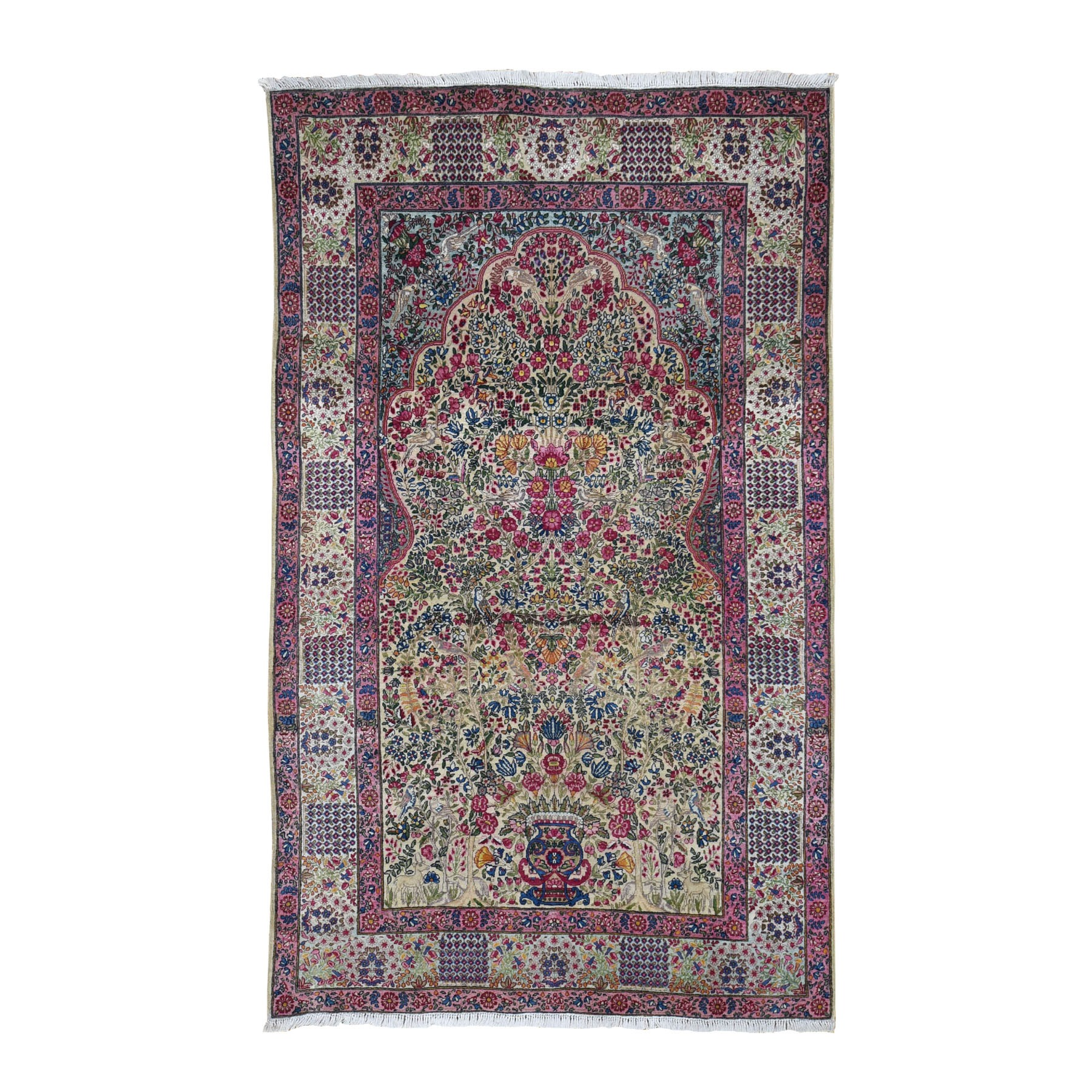 "4'7""X7'5"" Antique Persian Lavar Kerman Vaze Design With Birds Hand Knotted Oriental Rug moad8697"