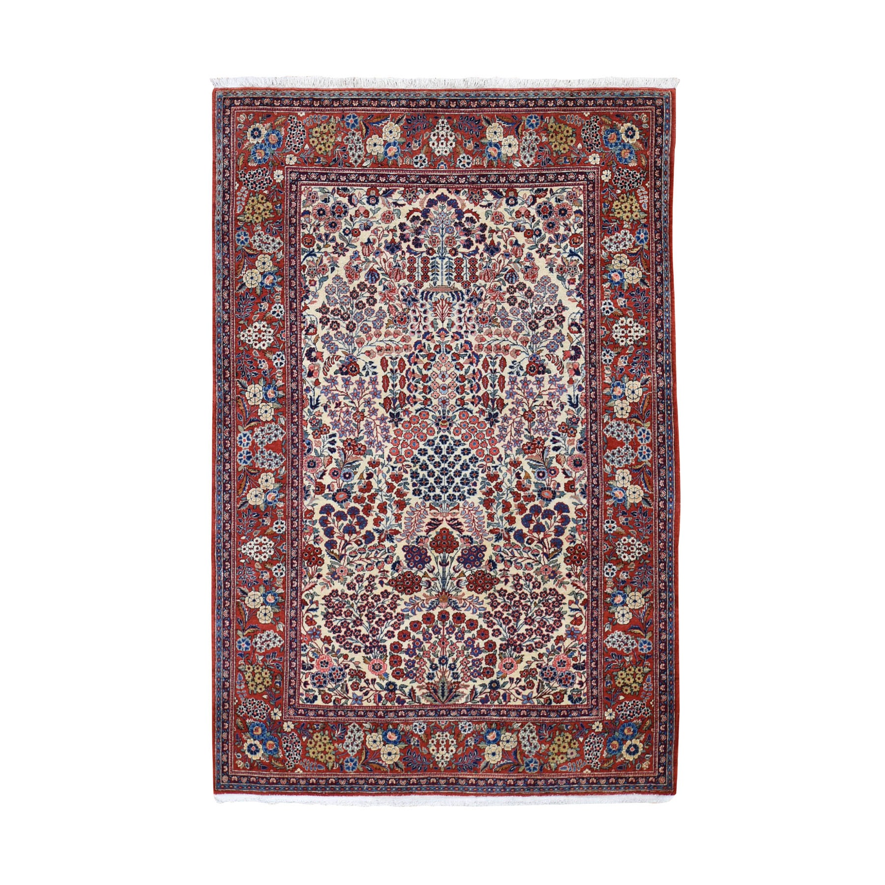 "4'4""X6'9"" One From A Pair Antique Persian Kashan Exc Cond Clean And Soft Hand Knotted Pure Wool Oriental Rug moad8698"