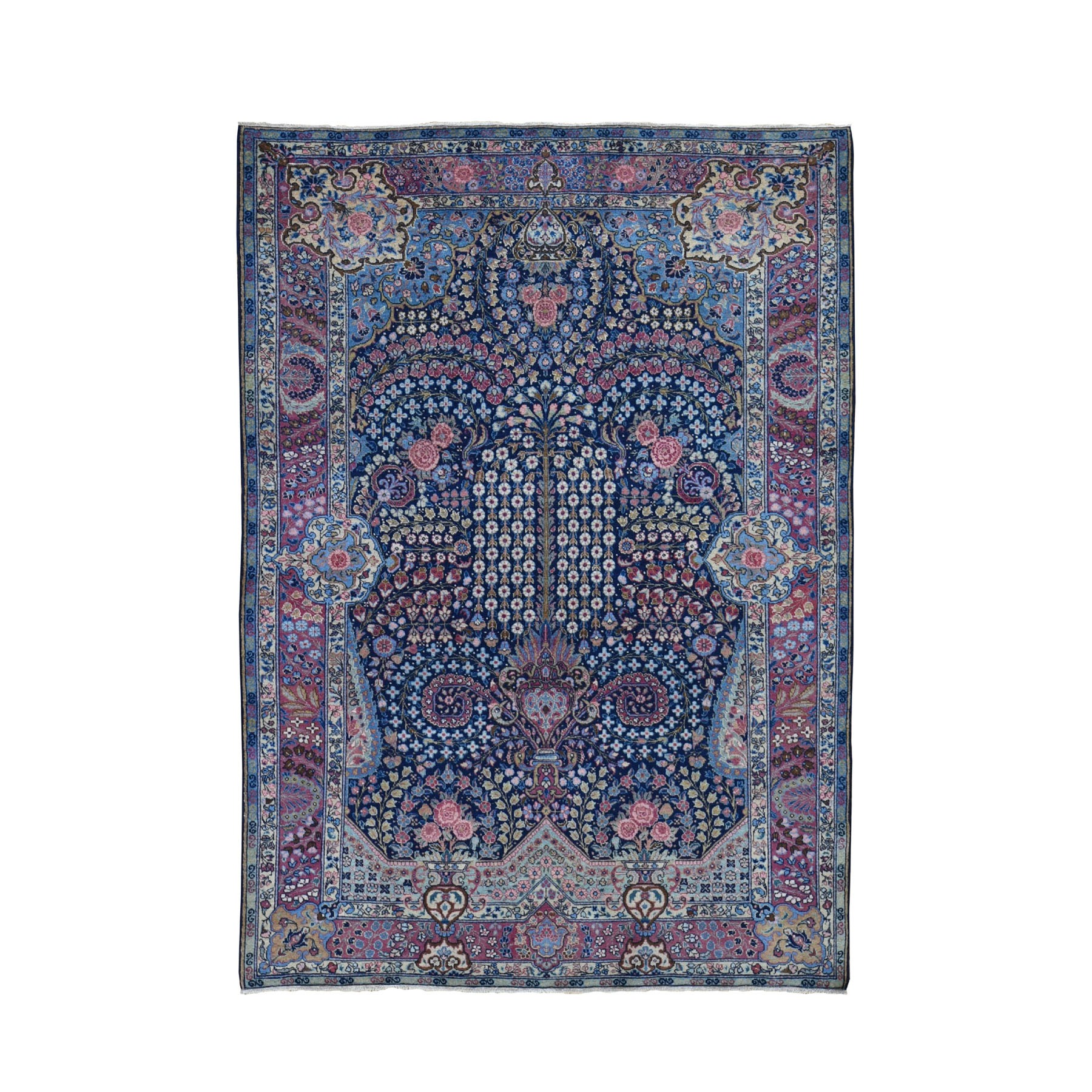 "4'7""X6'4"" Navy Blue Antique Persian Tabriz Full Pile Peacock & Flower Design Exc Condition Oriental Rug moad8699"