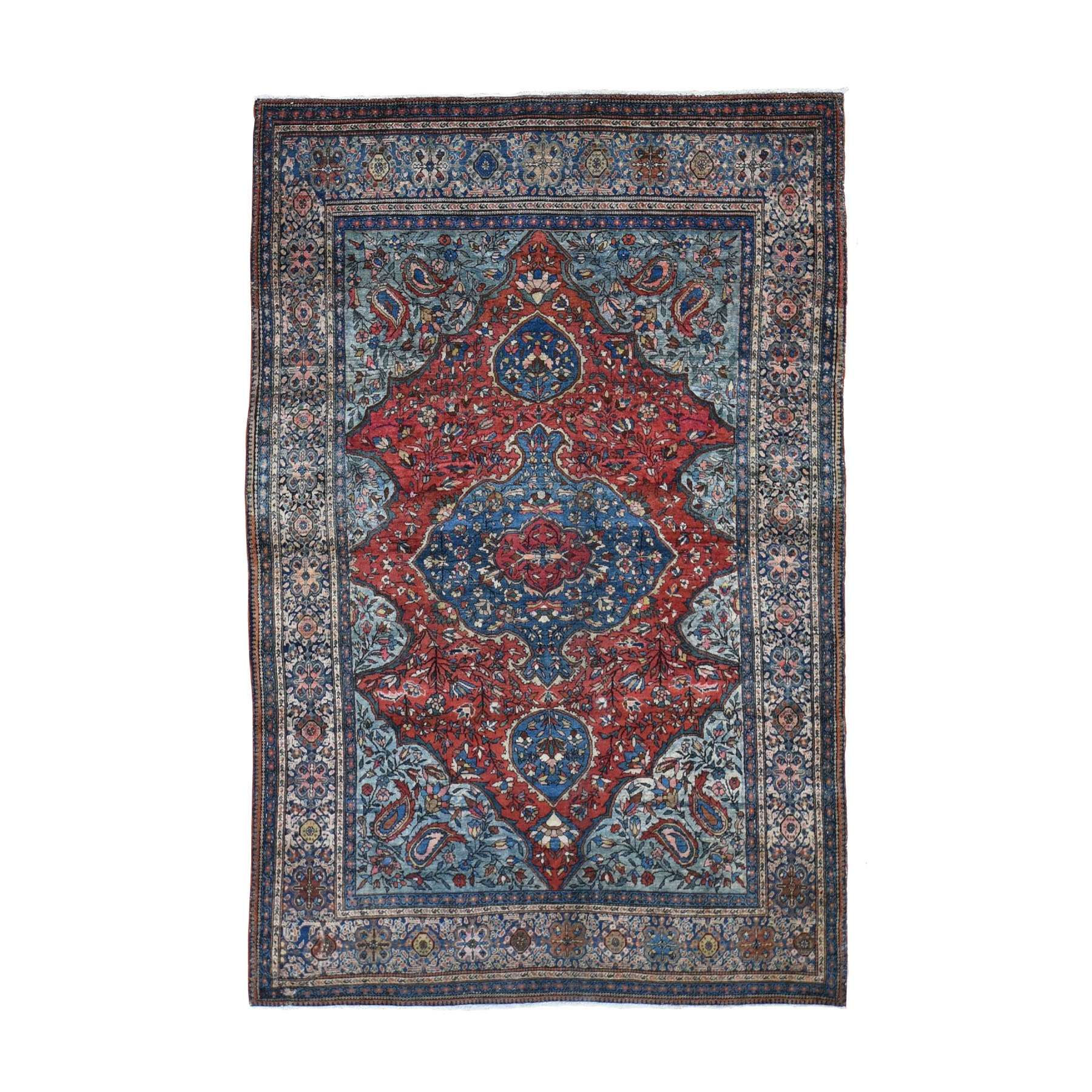 "4'2""x6'6"" Red Antique  Persian Sarouk Fereghan Good Condition Soft Hand Knotted Fine Oriental Rug"