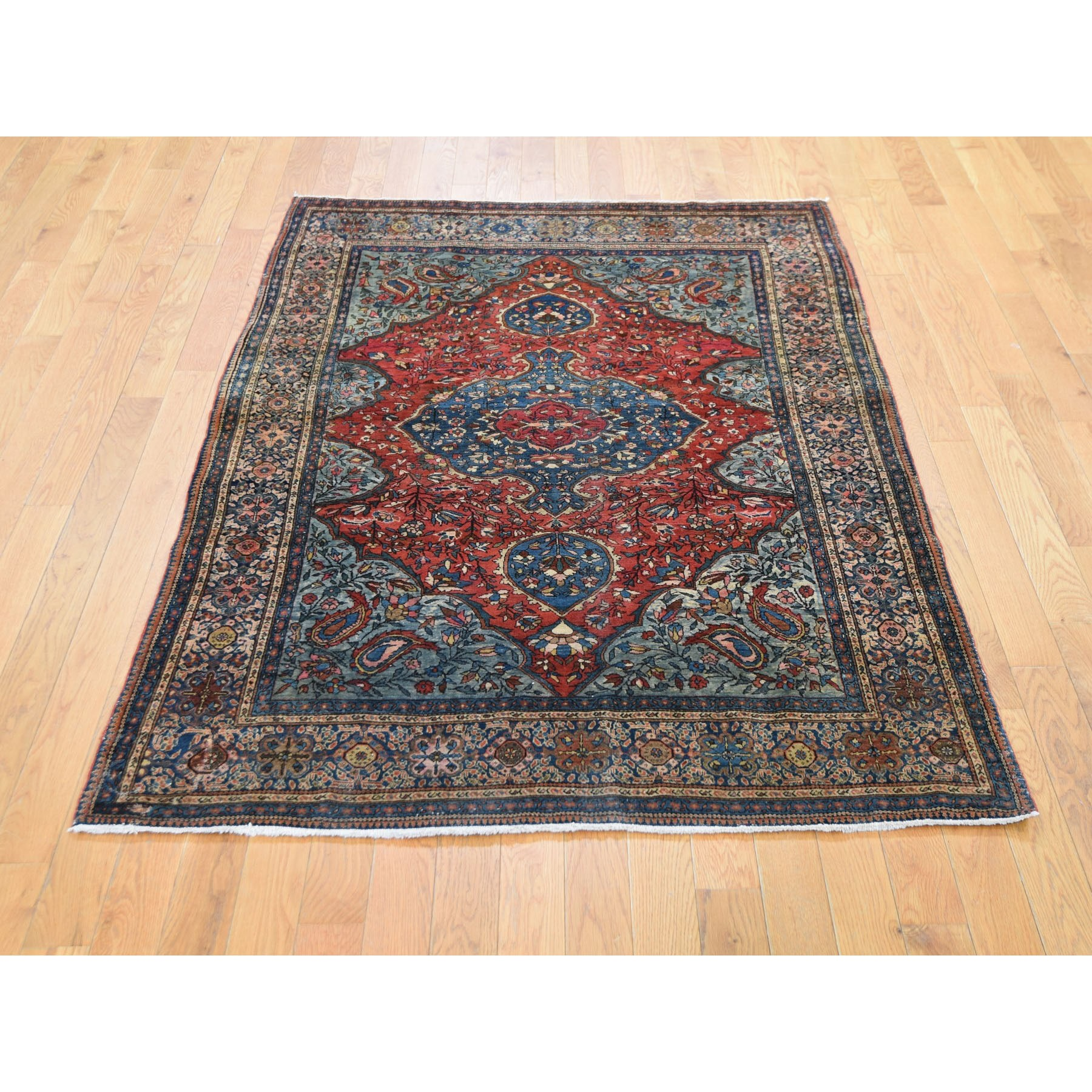 """4'2""""x6'6"""" Red Antique  Persian Sarouk Fereghan Good Condition Soft Hand Knotted Fine Oriental Rug"""