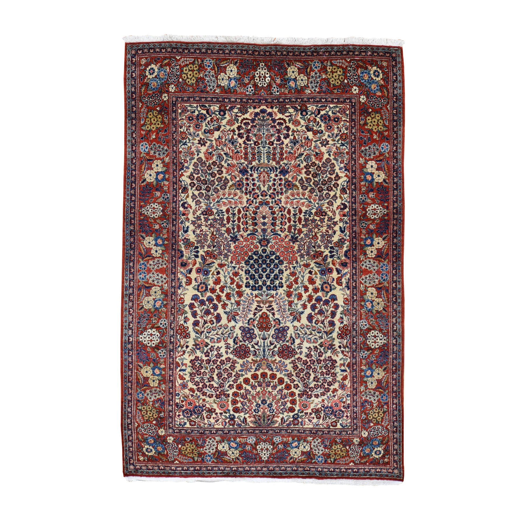 "4'4""X6'9"" One From A Pair Antique Persian Kashan Exc Cond Clean And Soft Hand Knotted Pure Wool Oriental Rug moad870a"