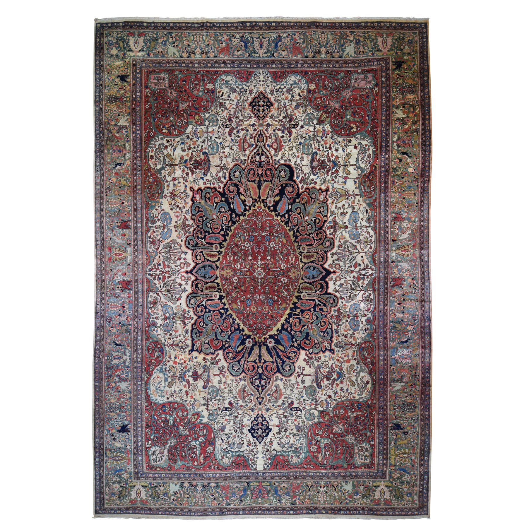 "12'2""X18'8"" Oversized Antique Persian Sarouk Fereghan With Birds Full Pile And Soft Hand Knotted Oriental Rug moad870c"