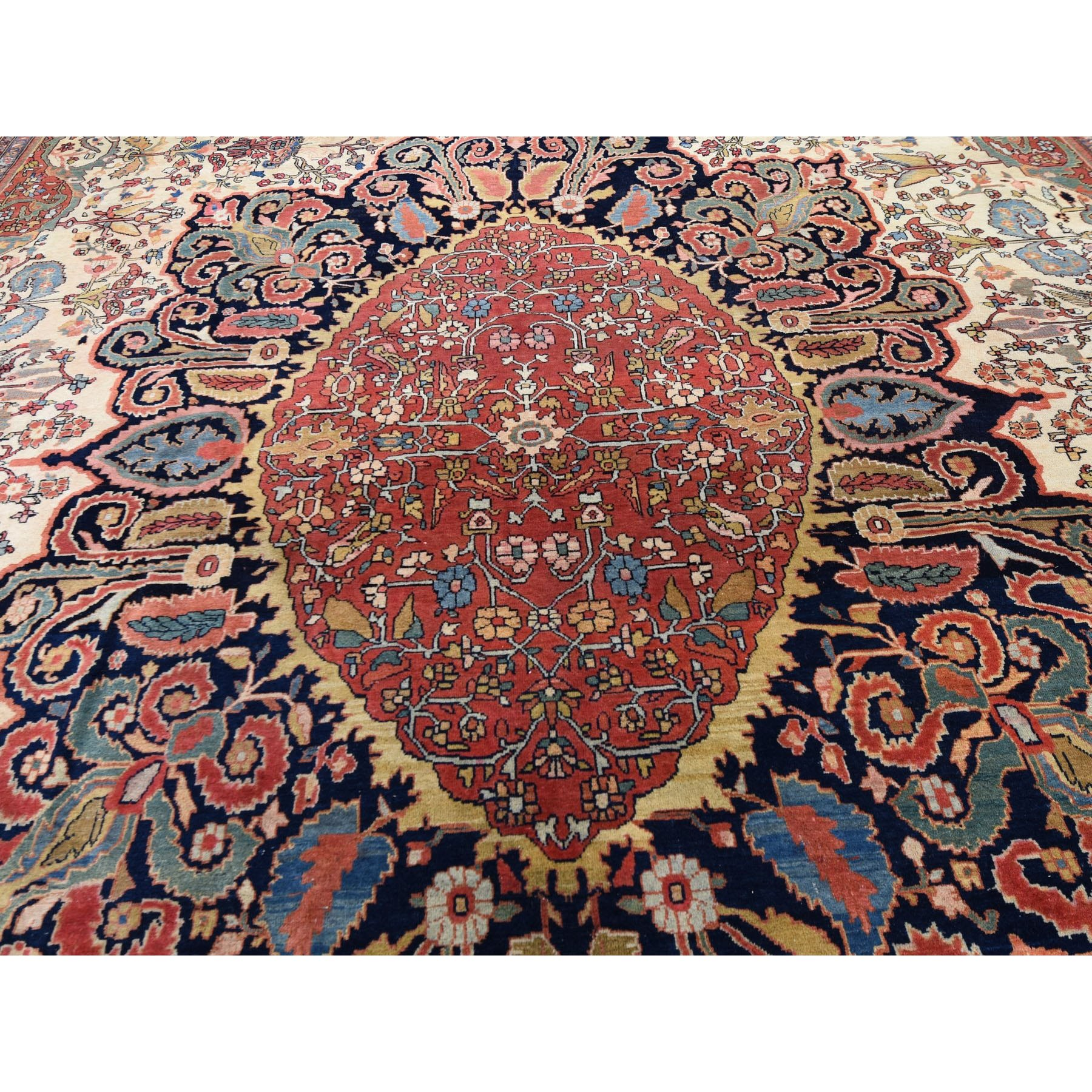 """12'2""""x18'8"""" Oversized Antique Persian Sarouk Fereghan With Birds Full Pile And Soft Hand Knotted Oriental Rug"""