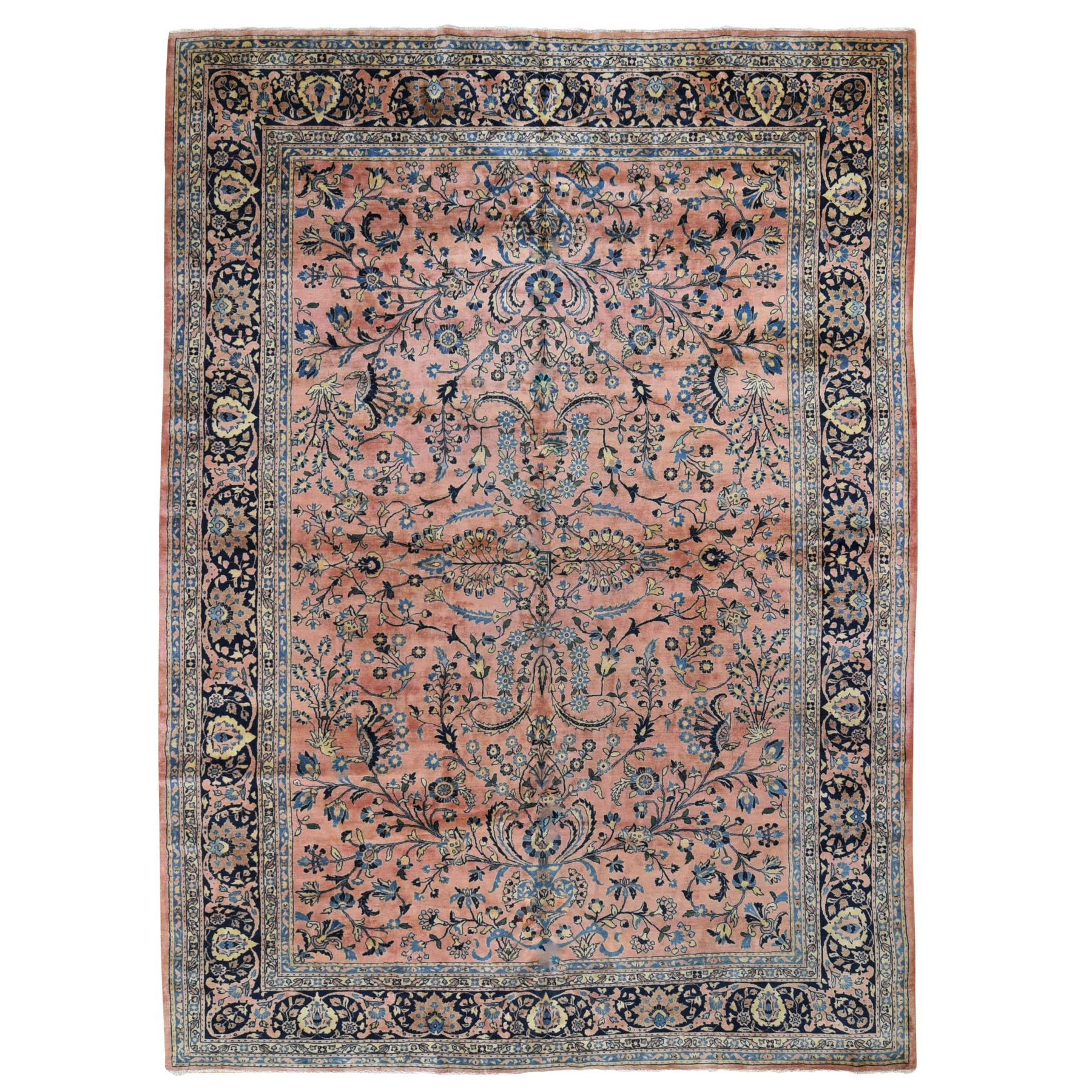 "9'x12'3"" Coral Antique Persian Sarouk Mohojaren Soft And Full Pile Hand Knotted Oriental Rug"