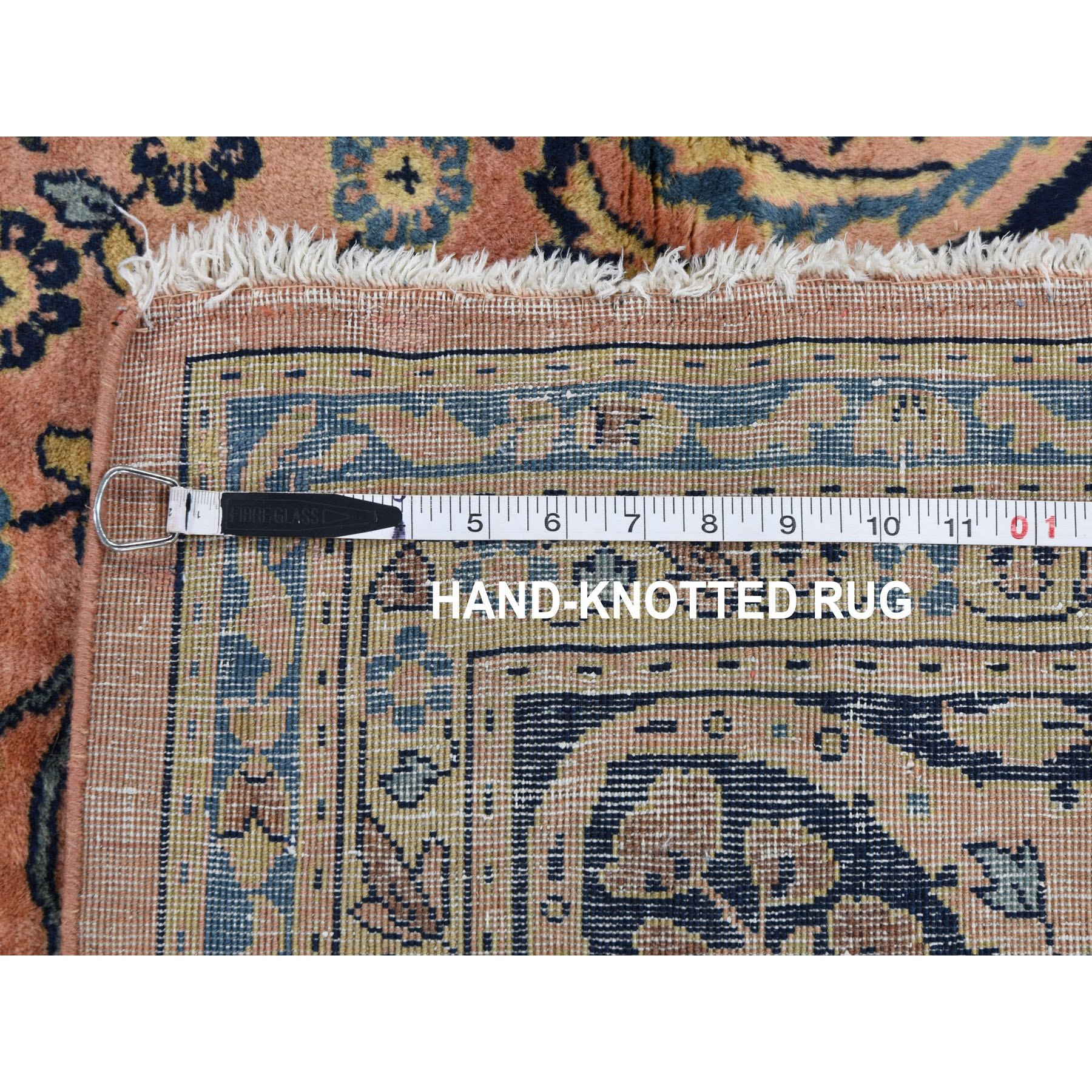 """9'x12'3"""" Coral Antique Persian Sarouk Mohojaren Soft And Full Pile Hand Knotted Oriental Rug"""